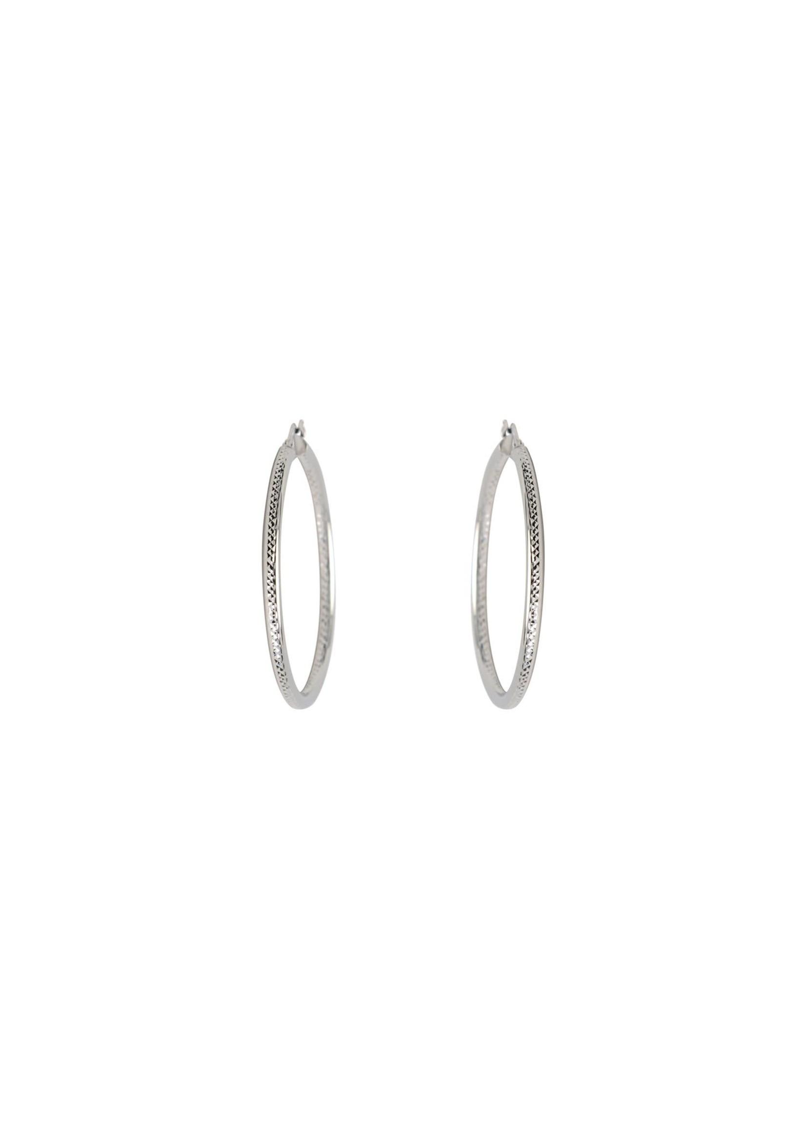 Boucles d'oreilles Anneaux tube créole Or blanc 10K