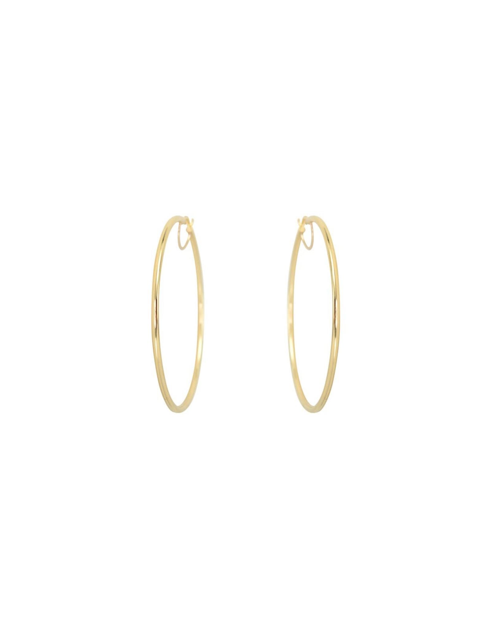 Boucles d'oreilles créoles Grandes Anneaux tube Or 10K