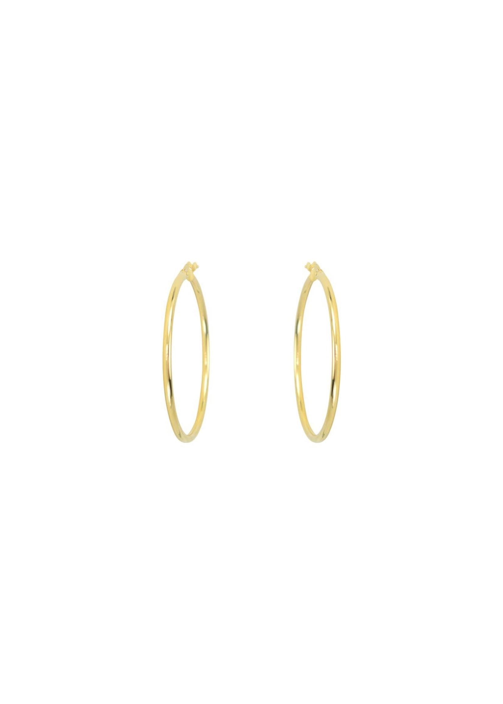Boucles d'oreilles Grandes Anneaux tube Créole Or jaune 10K