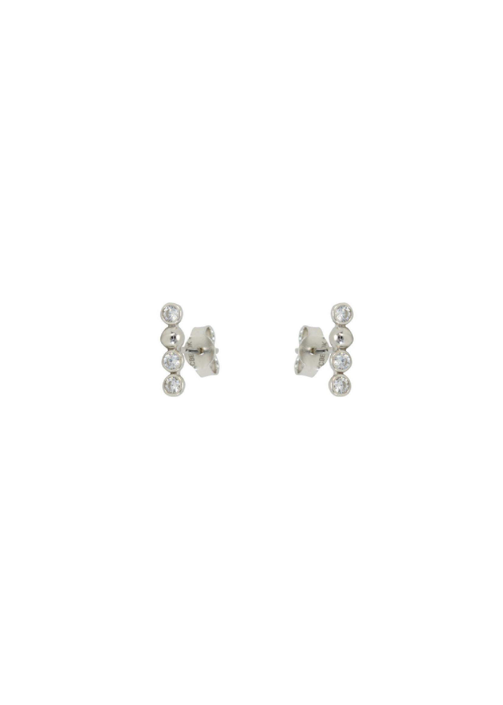 Boucles d'oreilles Stud avec boules Or blanc 10K