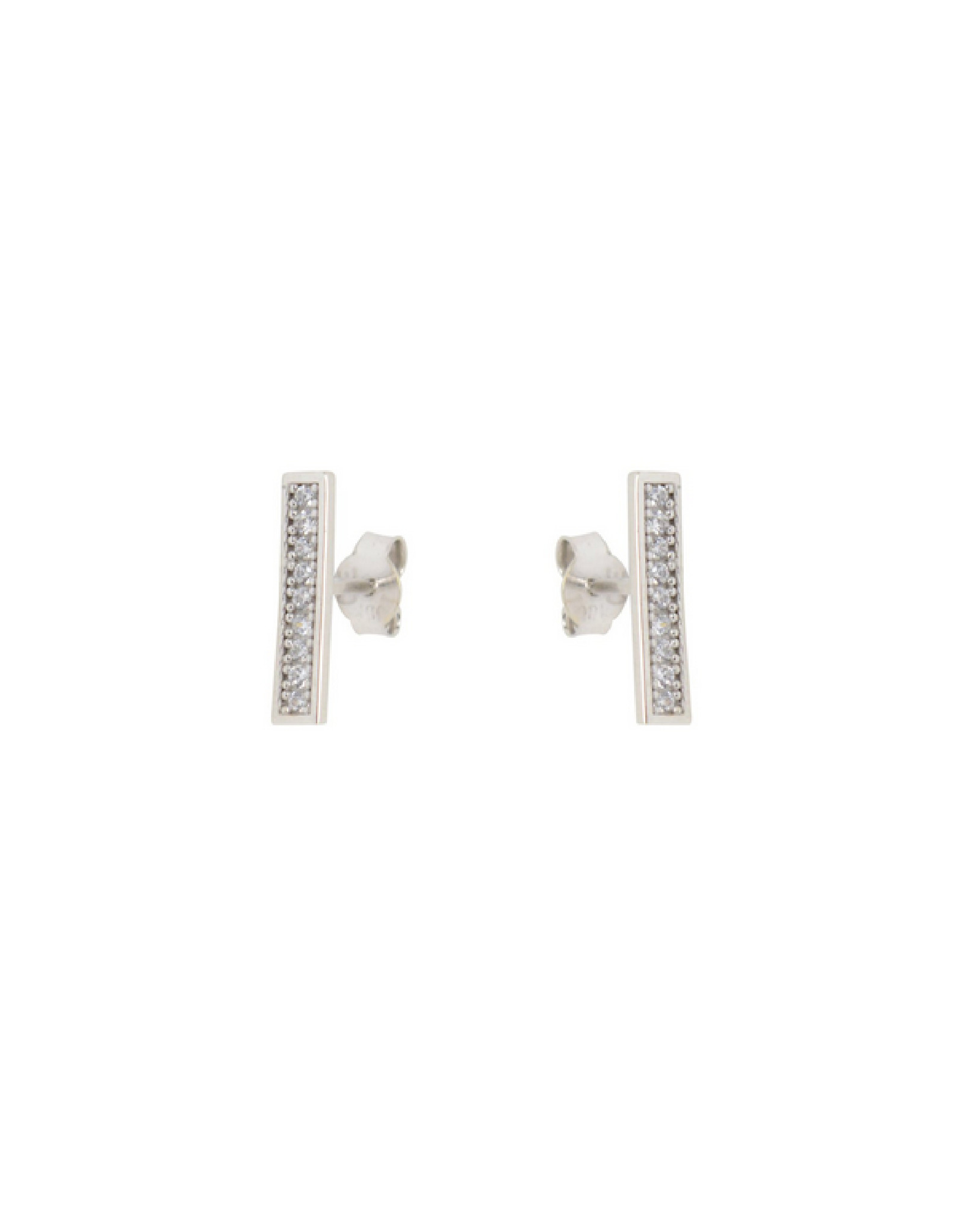 Boucles d'oreilles Barre avec cubique zirconium Stud Or blanc 10K