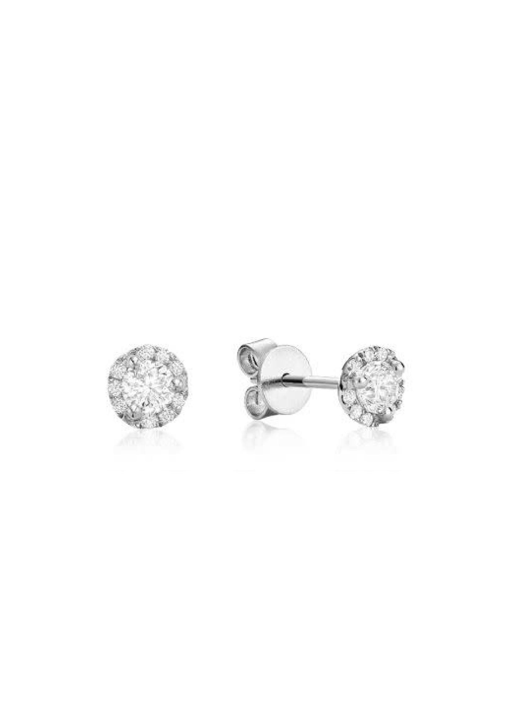 Boucles d'oreilles Halo Stud Or blanc 14K avec diamants
