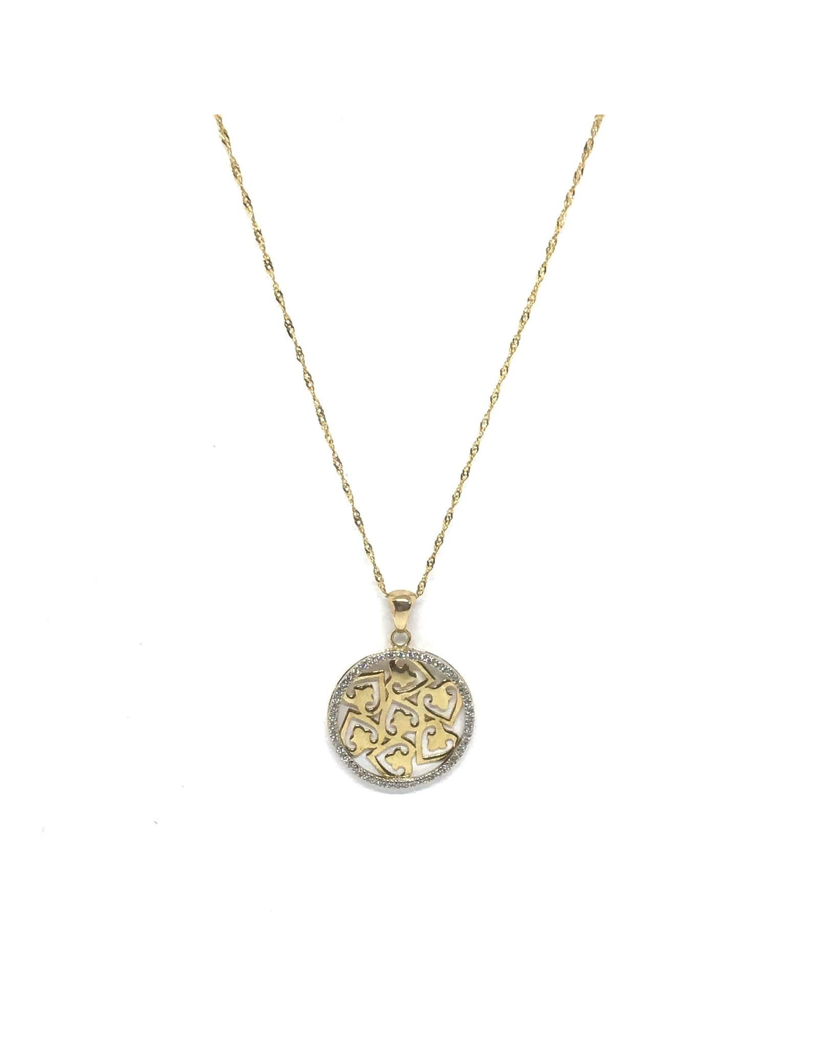 Breloque Cercle de vie et Cœur Or 14K avec Diamants