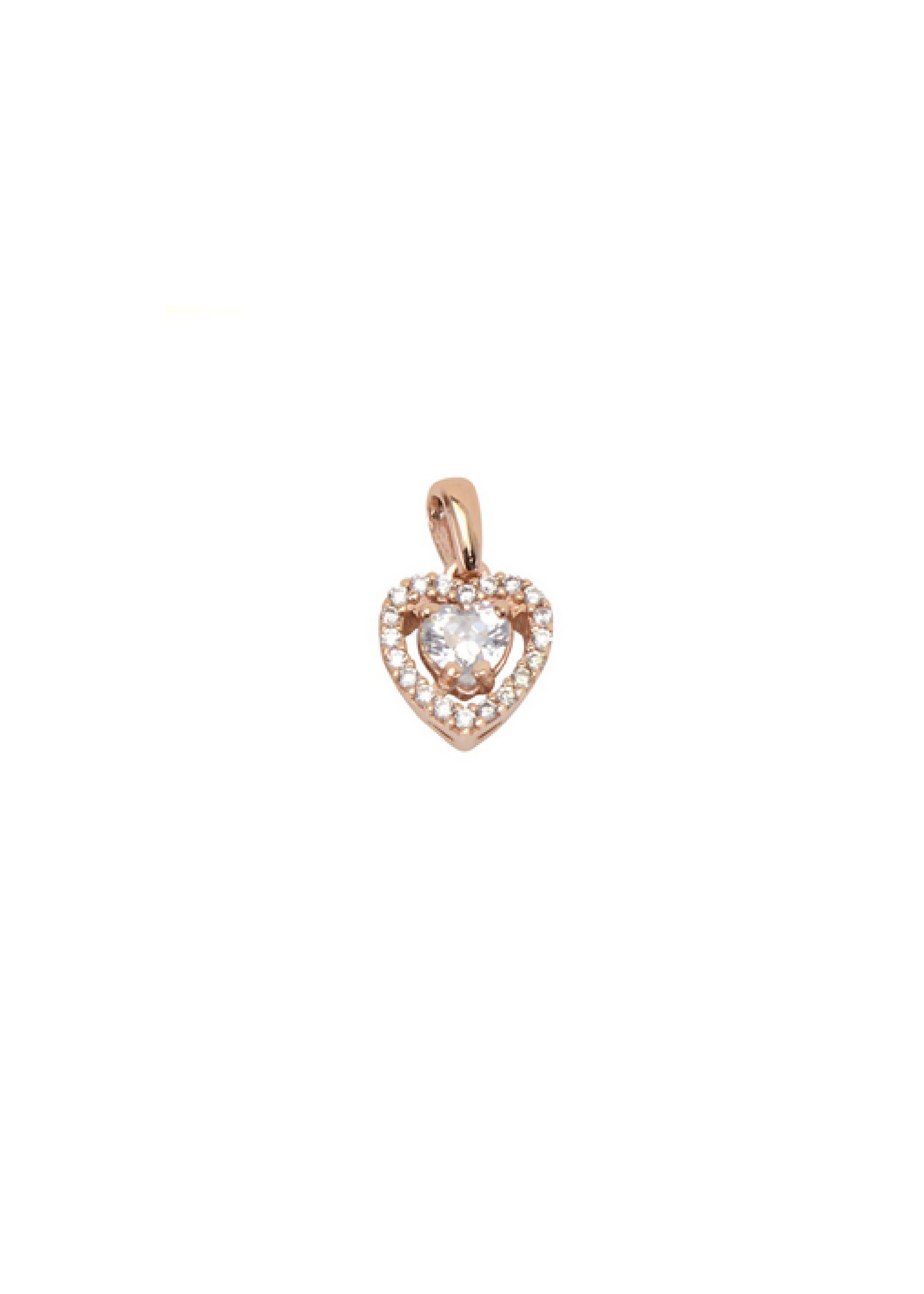 Breloque Cœur Or rose 10K avec Cubique Zirconium en couronne