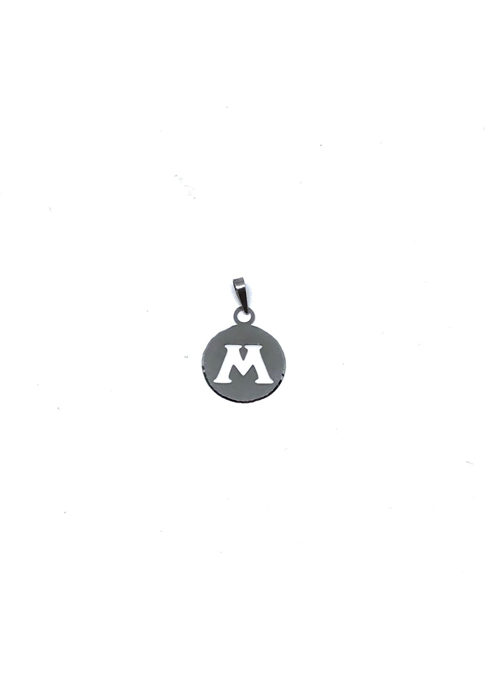 Breloque Médaillon Lettre M Or blanc 10K