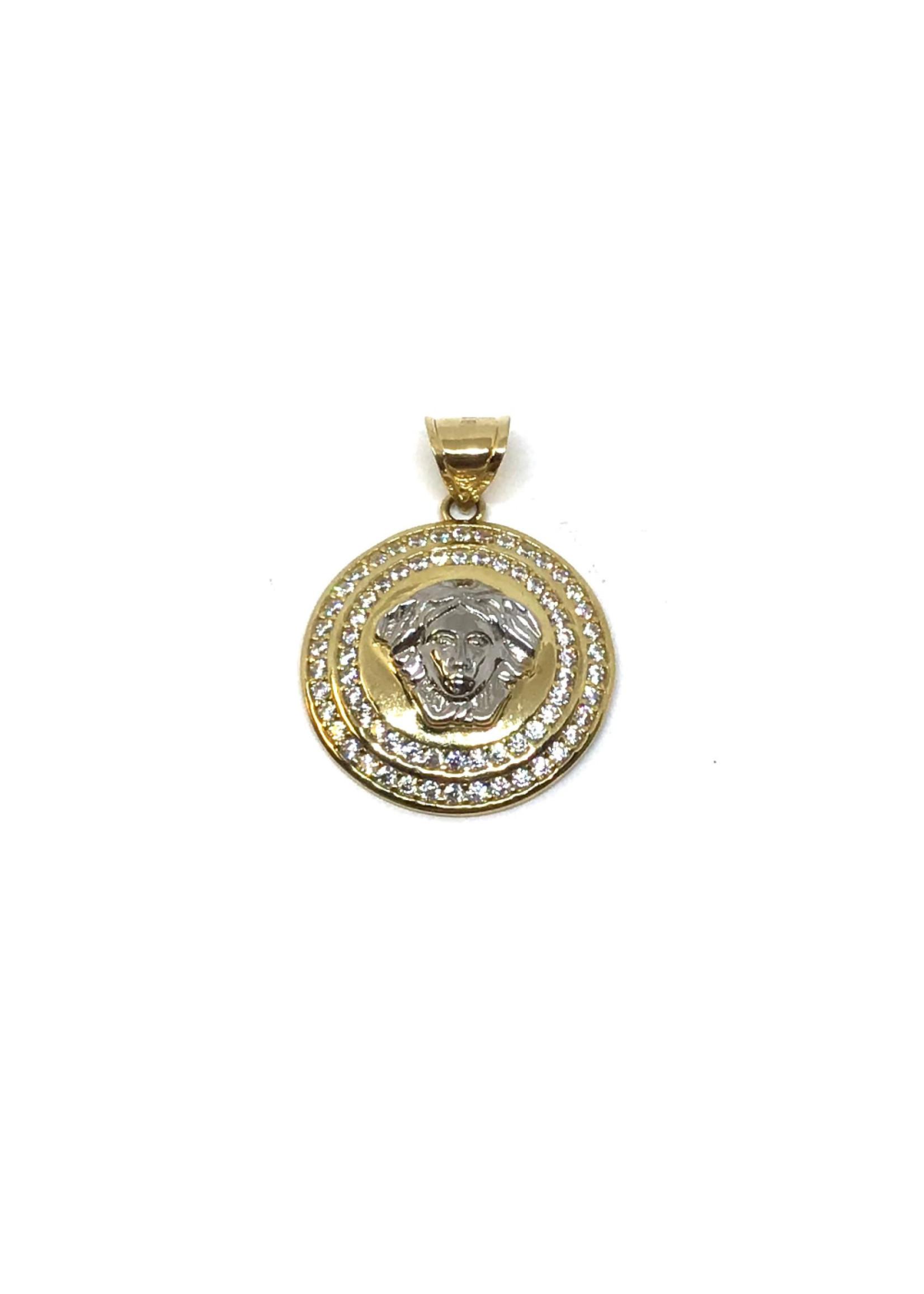 Breloque Médaillon tête Versace Or 10K 2 tons avec Cubique zirconium