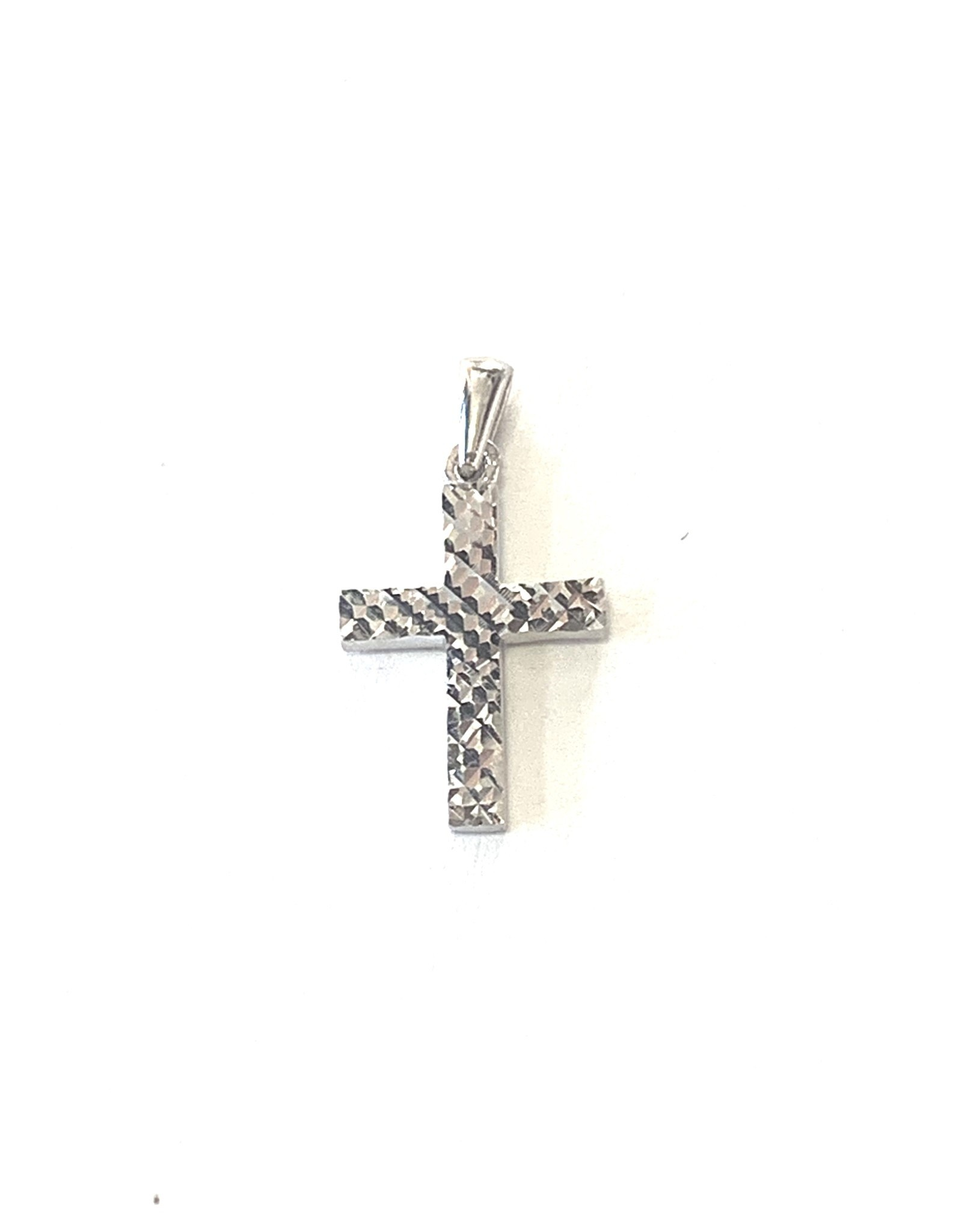 Croix Or blanc 10K « Diamond cut »