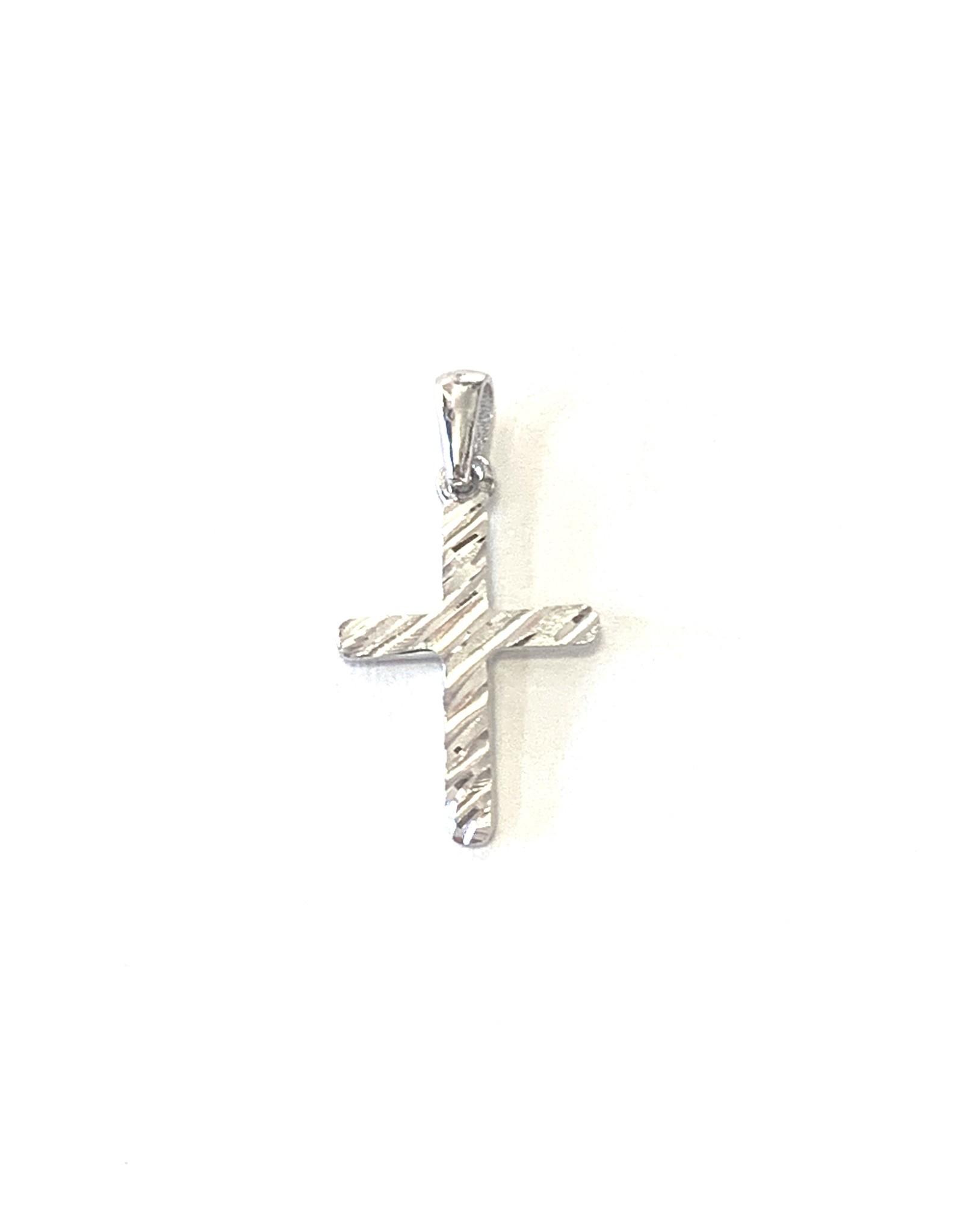 Croix Or blanc 10K « Diamond cut »