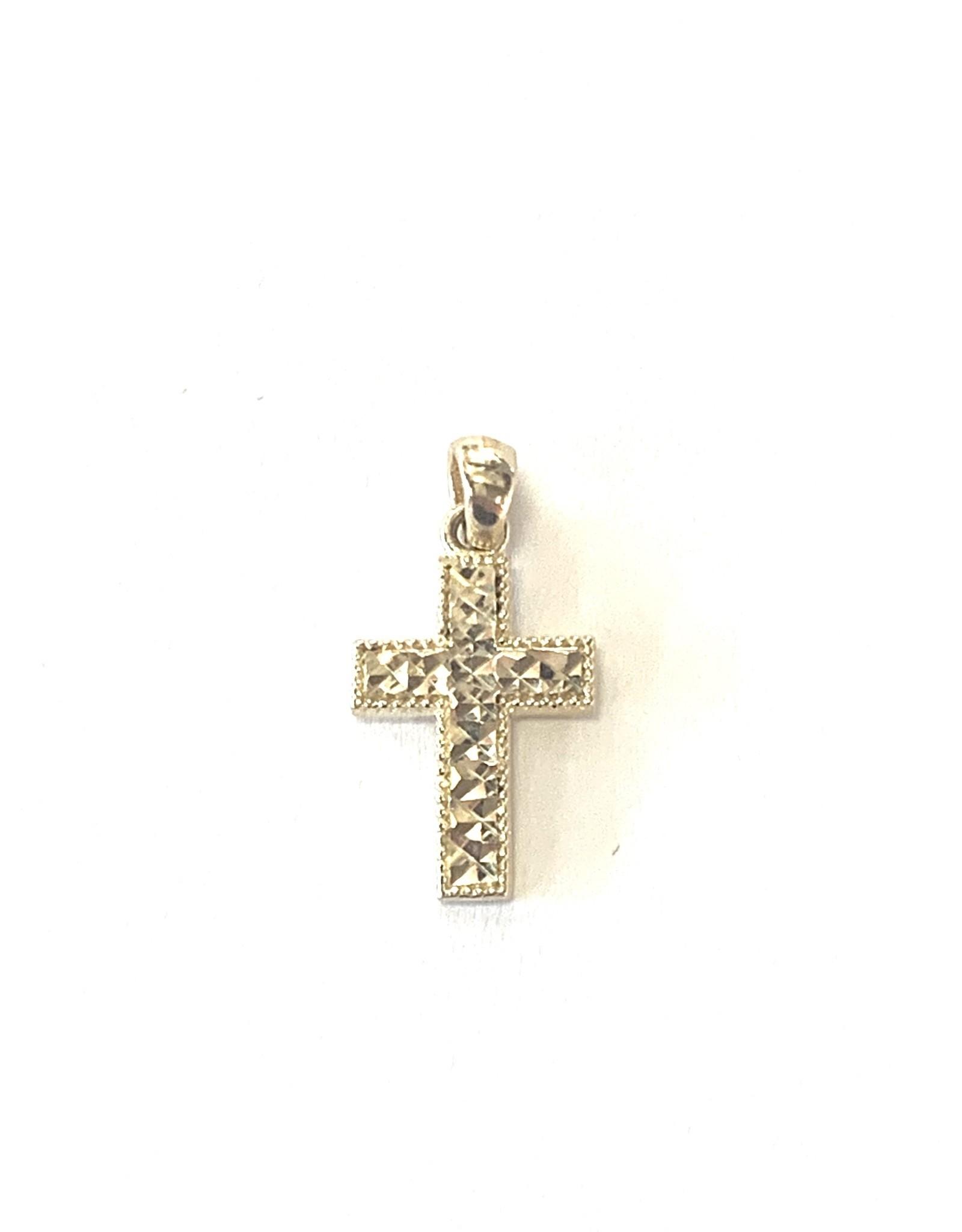 Croix Or 10K « Diamond cut »