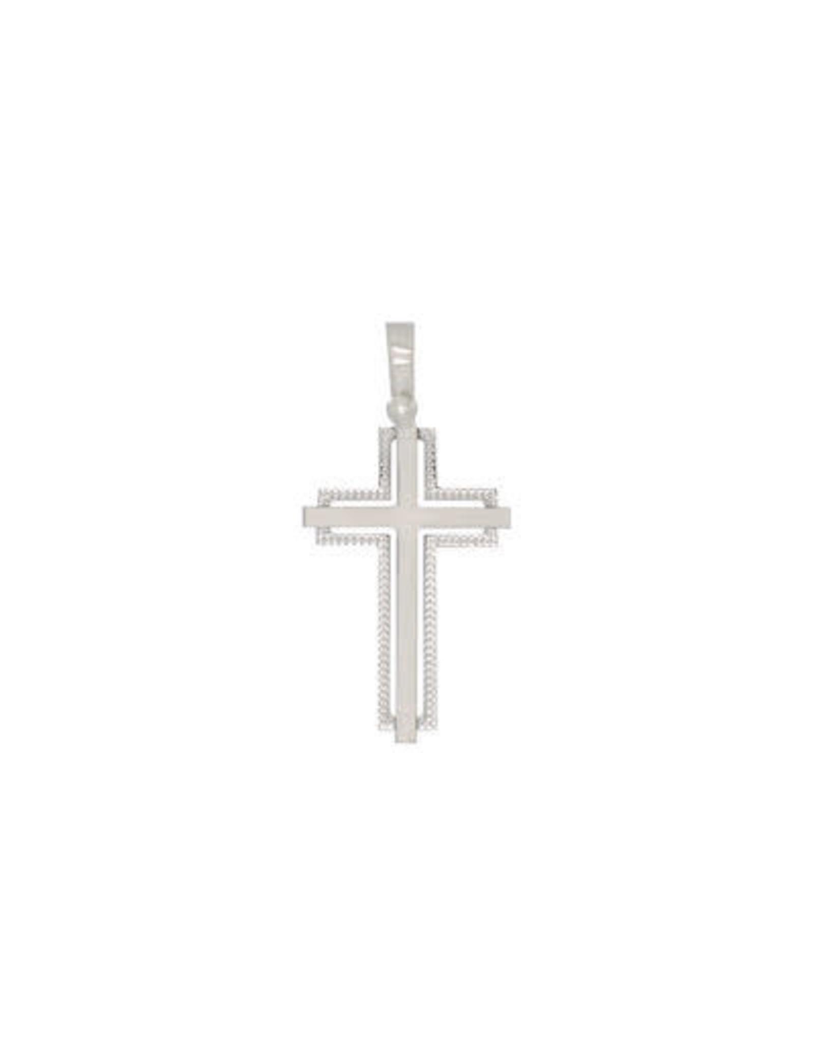Croix Double brossée Or blanc 14K