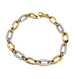 Bracelet Fantaisie Or 10K 2 tons avec Cubique zirconium