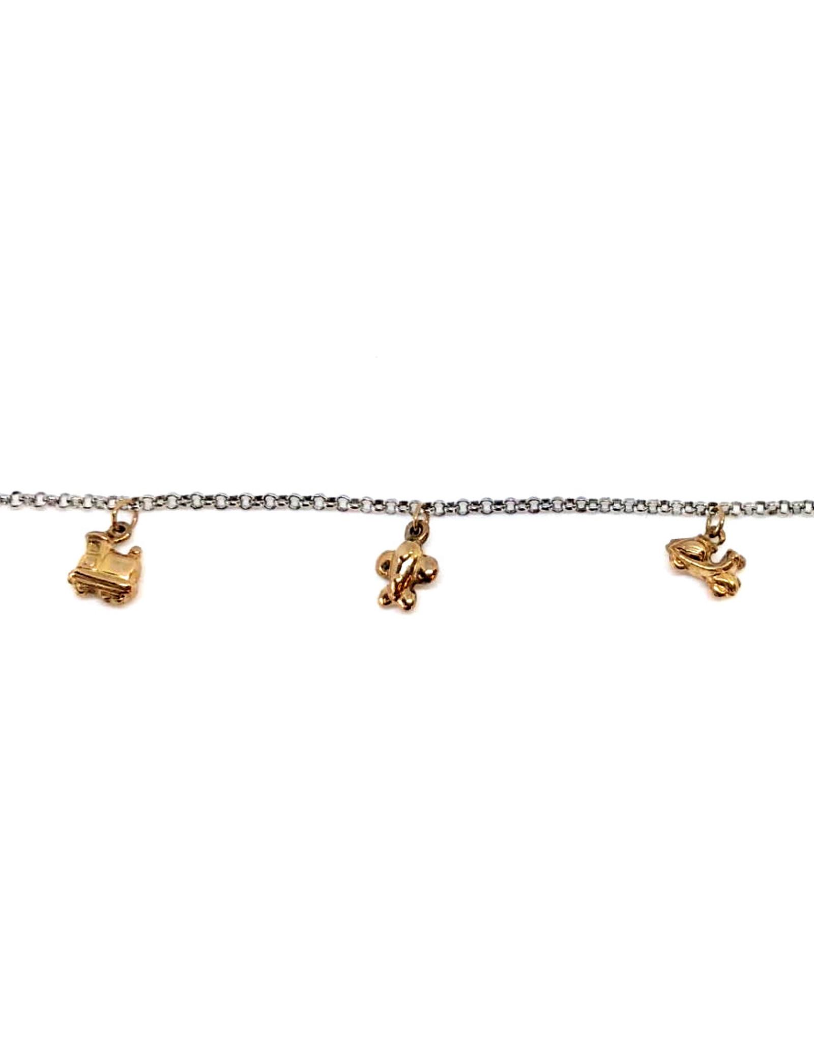Bracelet Enfant 4 breloques Or 10K 2 tons