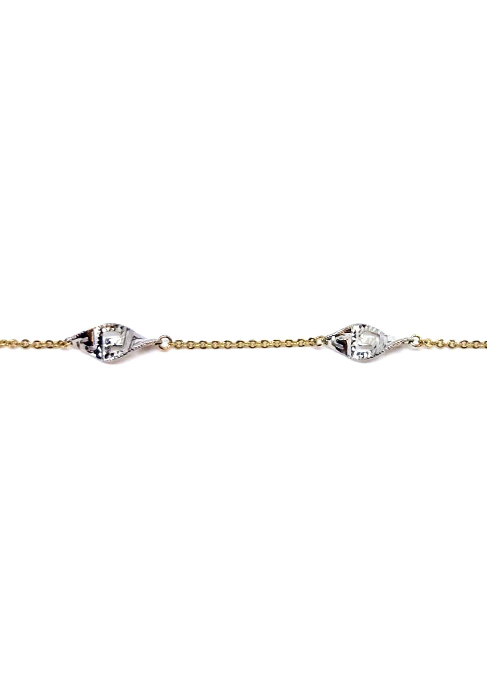 Bracelet Forçat et Versace Or 10K 2 tons