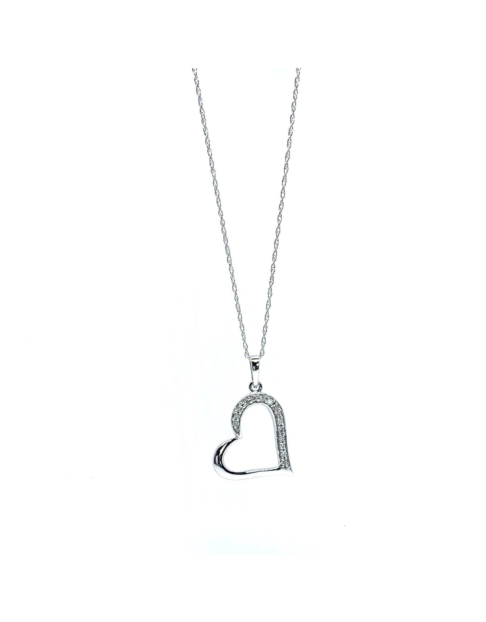 Chaîne et breloque Coeur Or blanc 10K avec Diamants