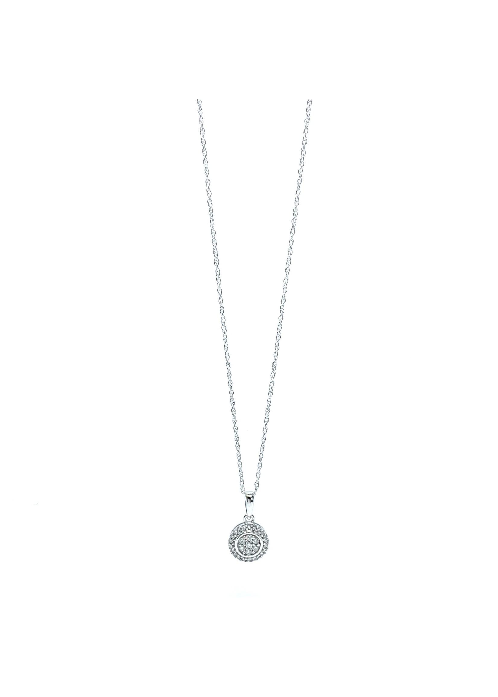 Chaîne et breloque Halo Or blanc 10K avec Diamants 0,15ct