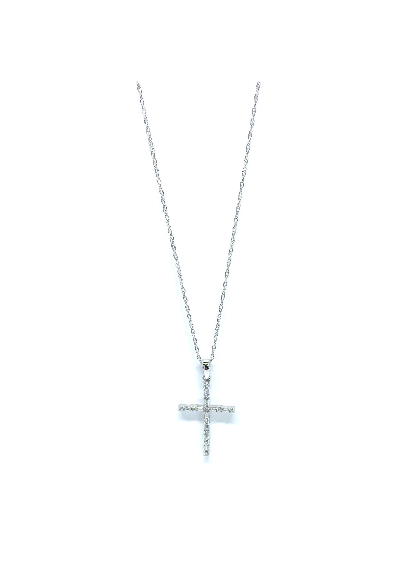 Chaîne et breloque Croix Or blanc 10K avec Diamants