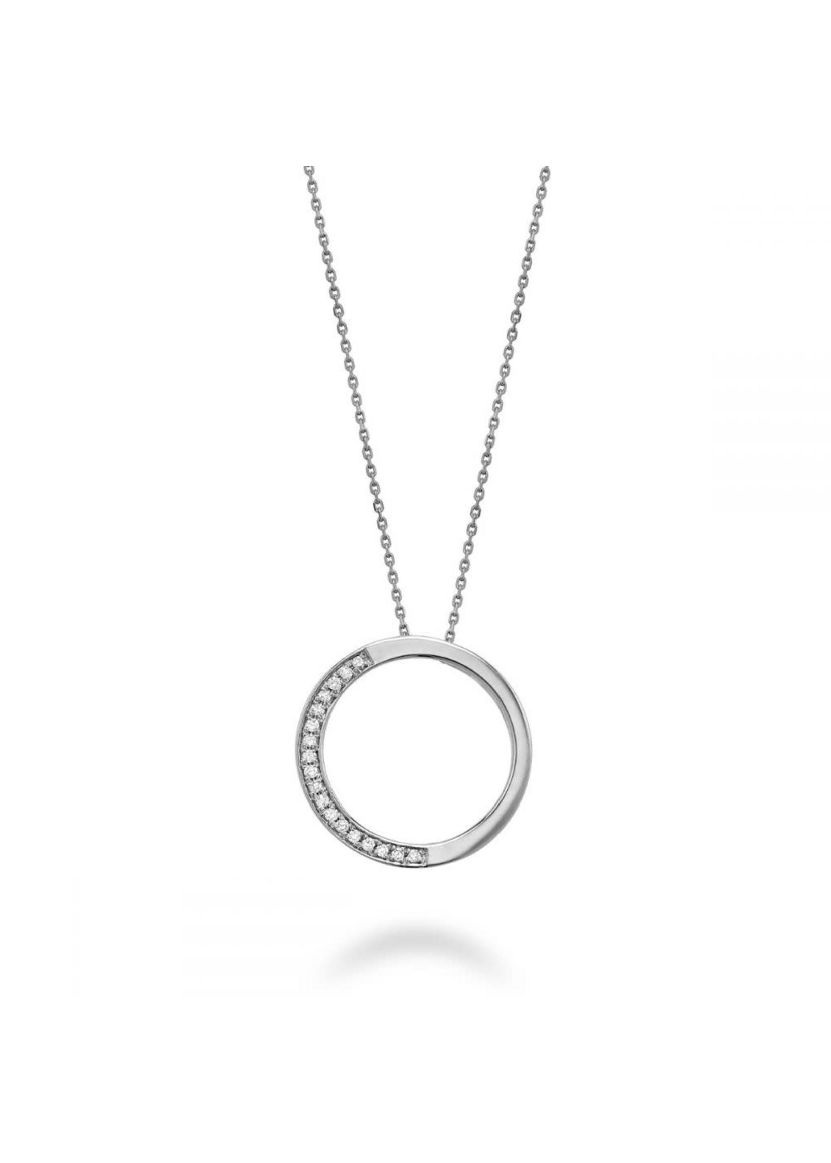 Chaîne et breloque Cercle de vie Or blanc 10K avec Diamants