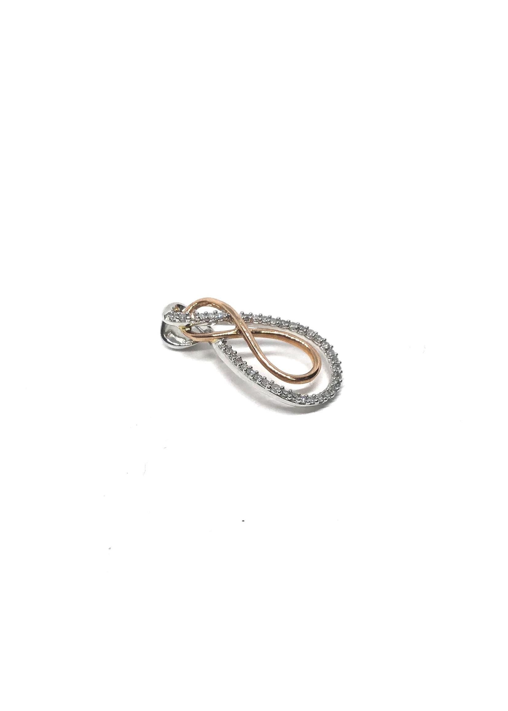 Collier Infini Or 10K 2 tons avec Diamants