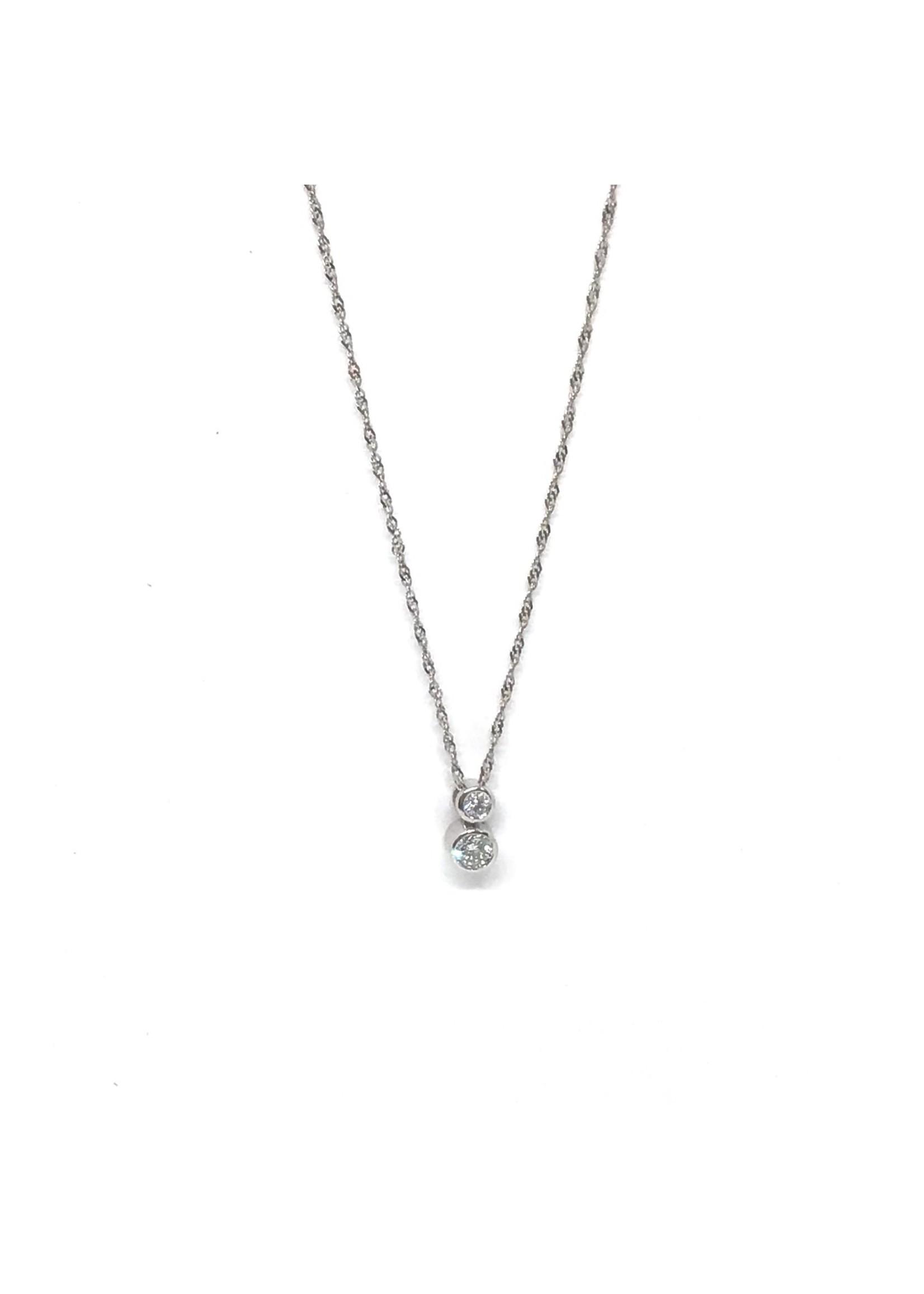 Ensemble Pendentif et Boucles d'oreilles en Or blanc avec Diamants