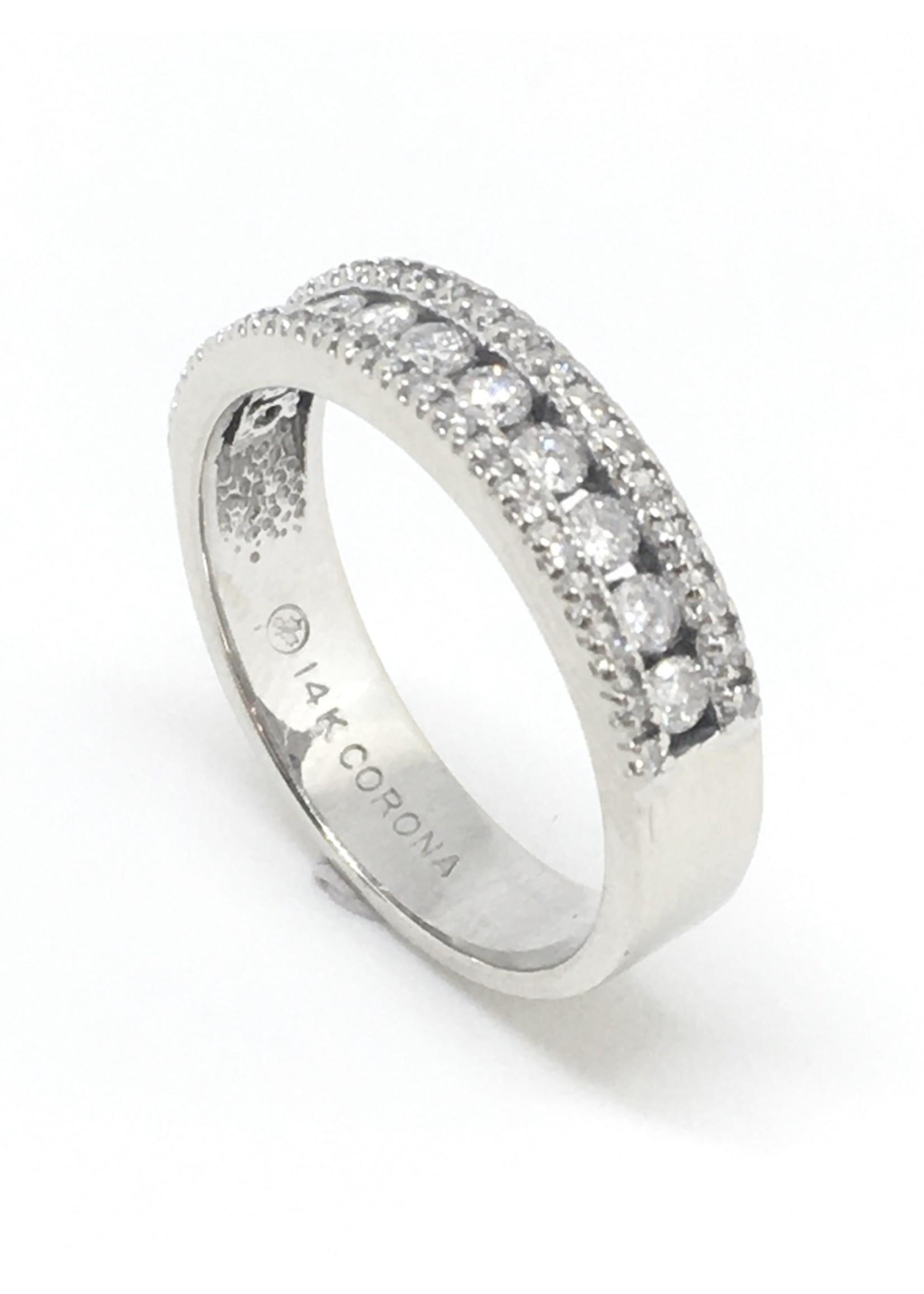 Jonc Semi-éternité Triple Or blanc 10K avec Diamants