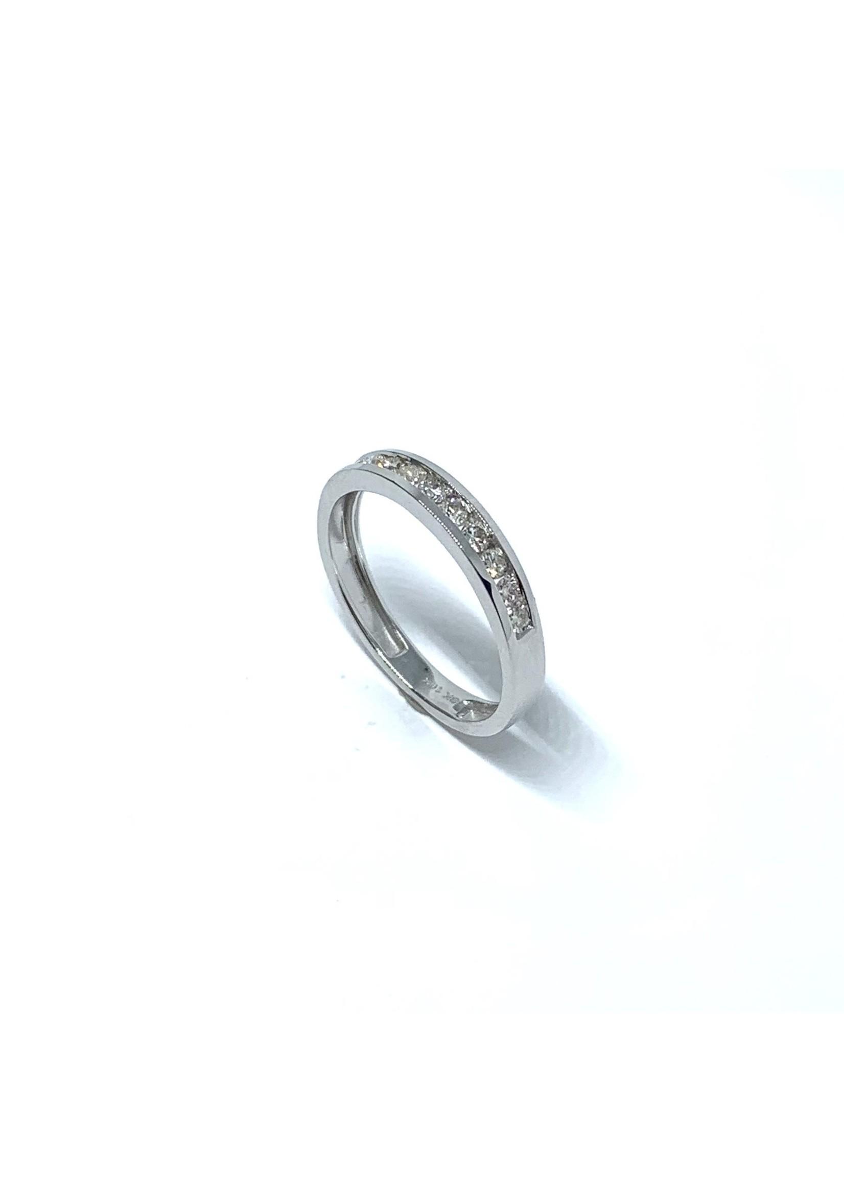 Jonc Semi-éternité Or blanc 10K avec Diamants
