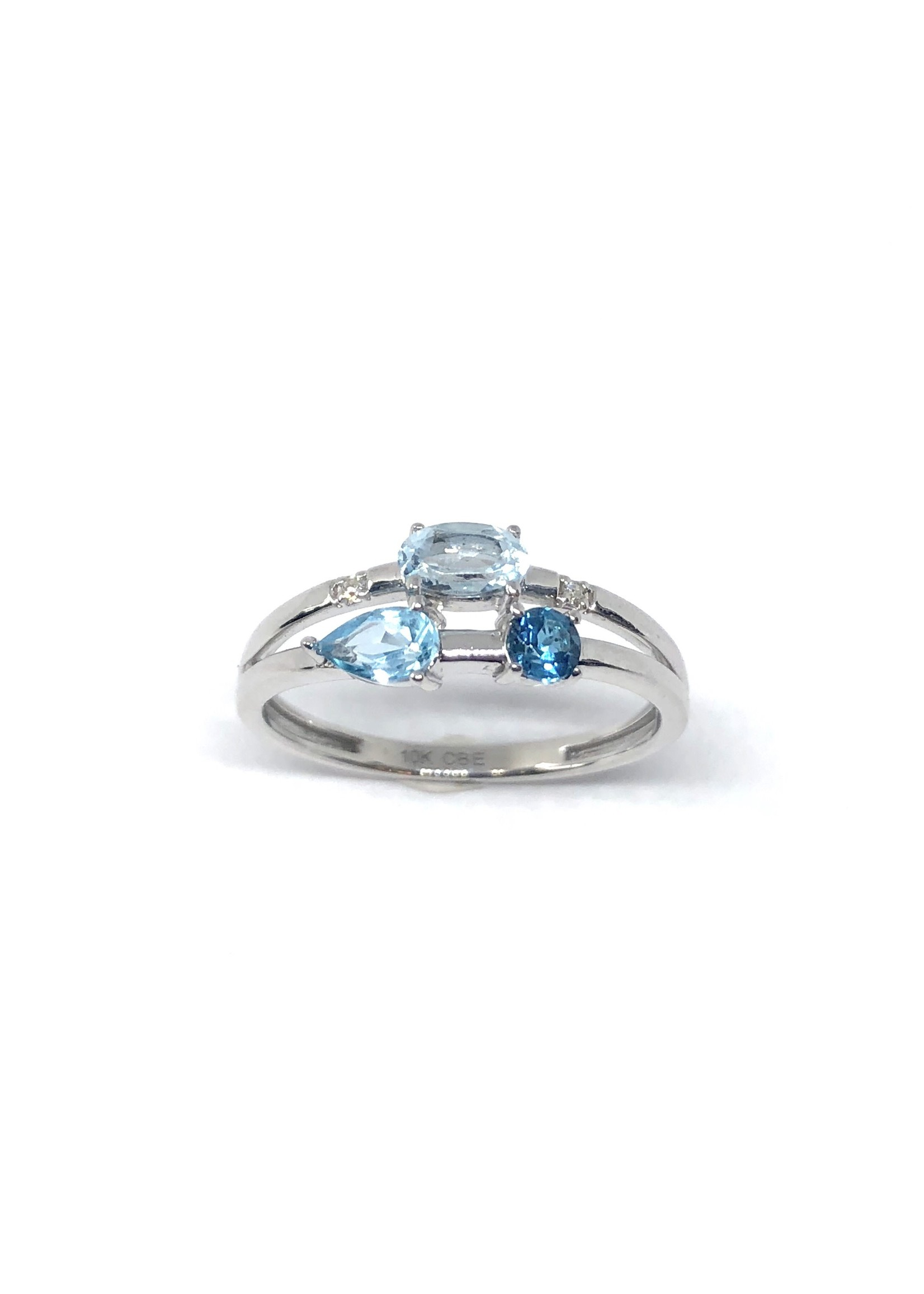 Bague 3 Topaz bleus Or blanc 10K avec Diamants