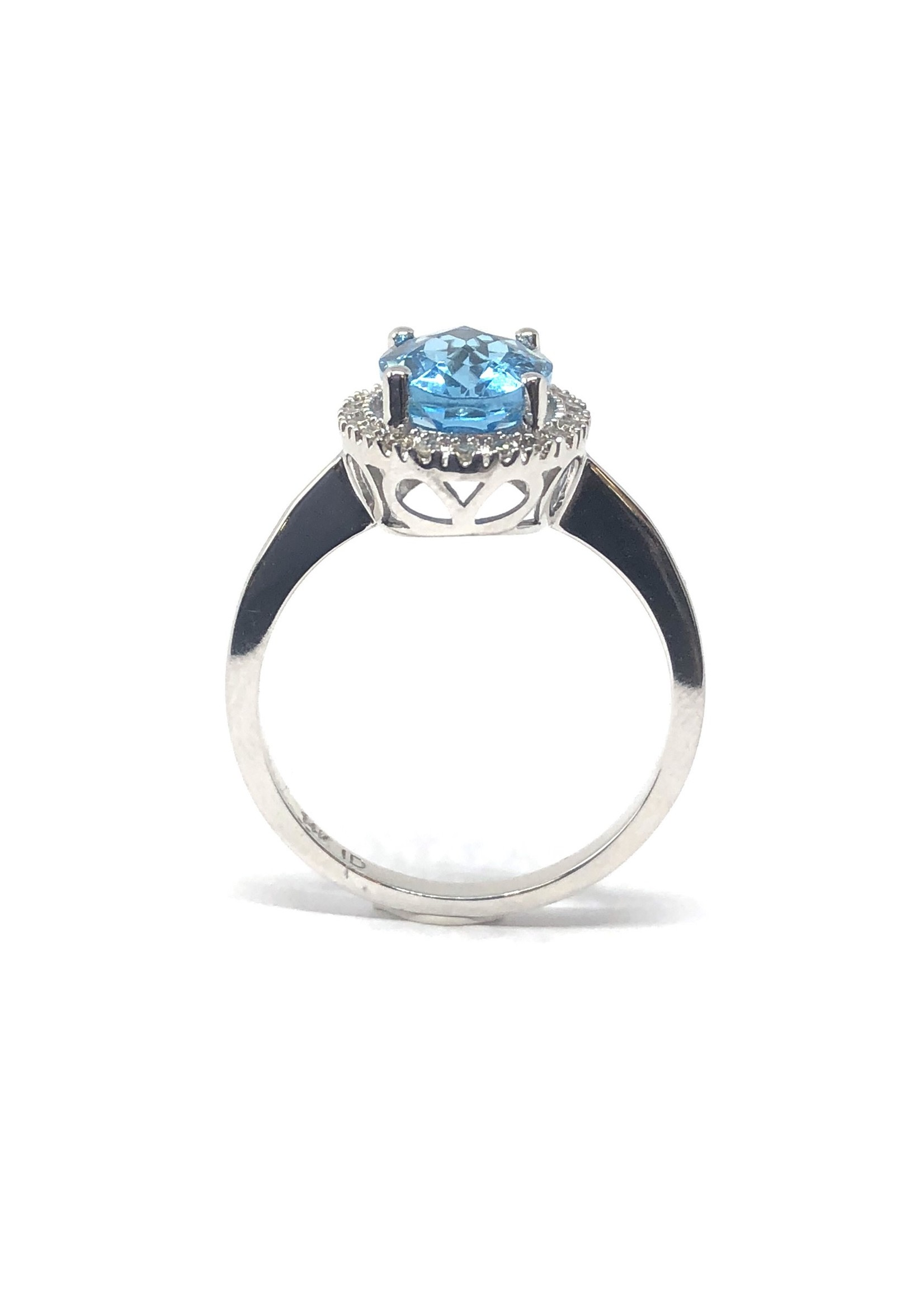 PARÉ Bague Halo Topaz bleu Or blanc 14K avec Diamants