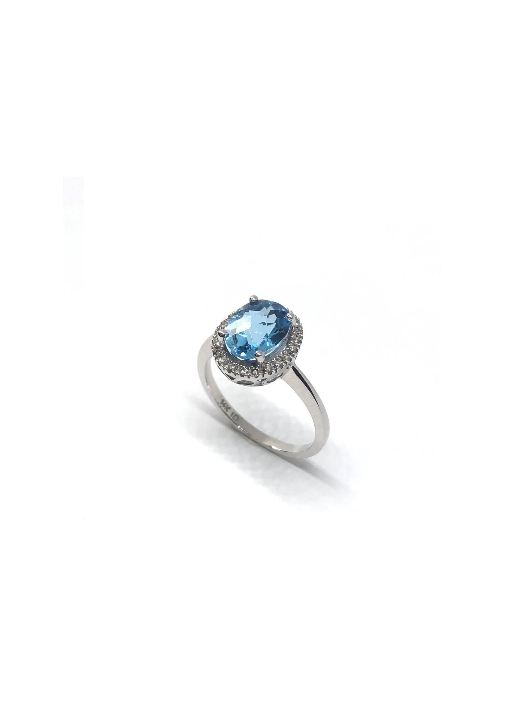 PARÉ Bague Halo Topaz bleu Or blanc 14K avec Diamants