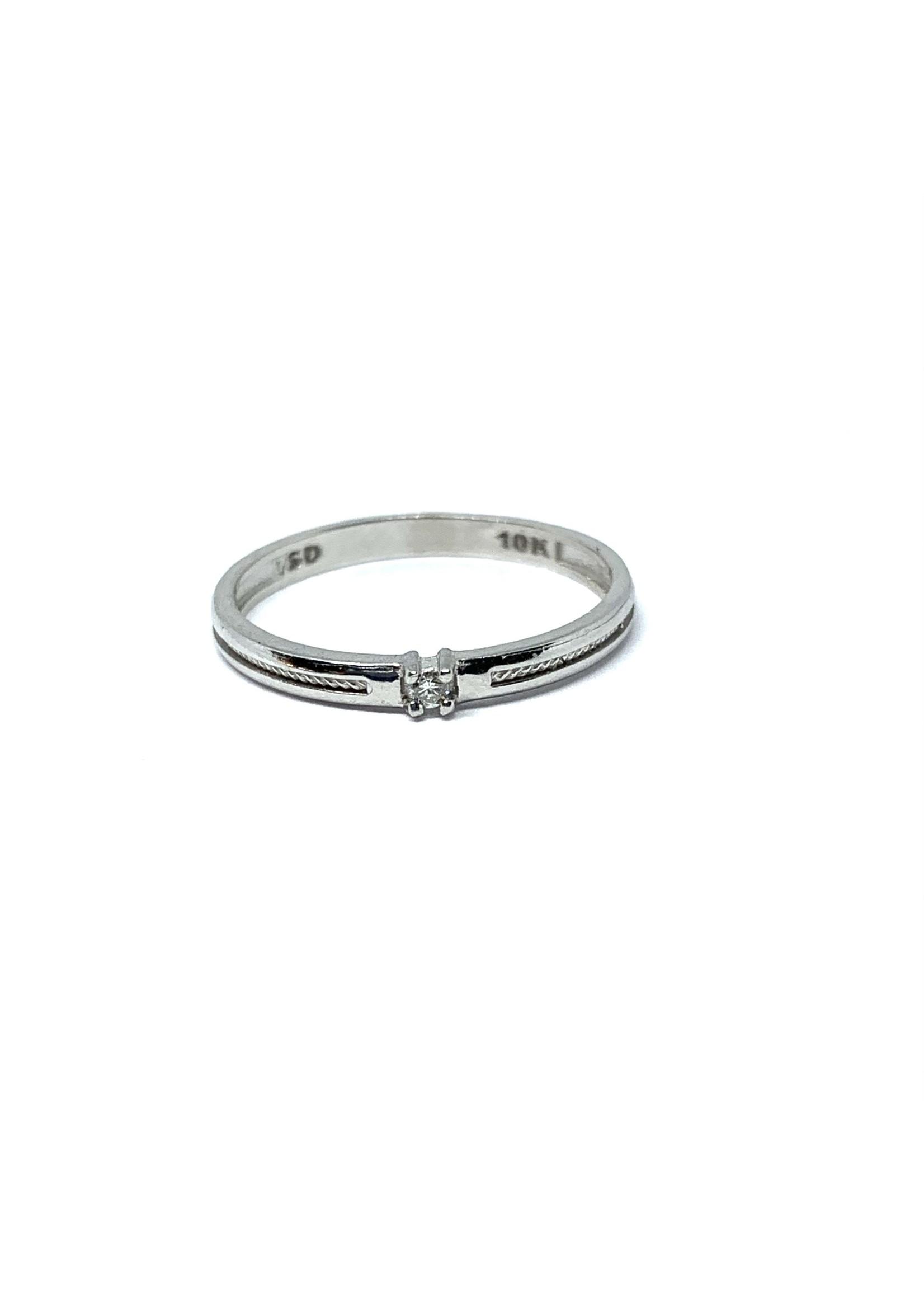 """LokÜs Bague """"Solitaire"""" en Or blanc 10K avec diamant Canadien"""