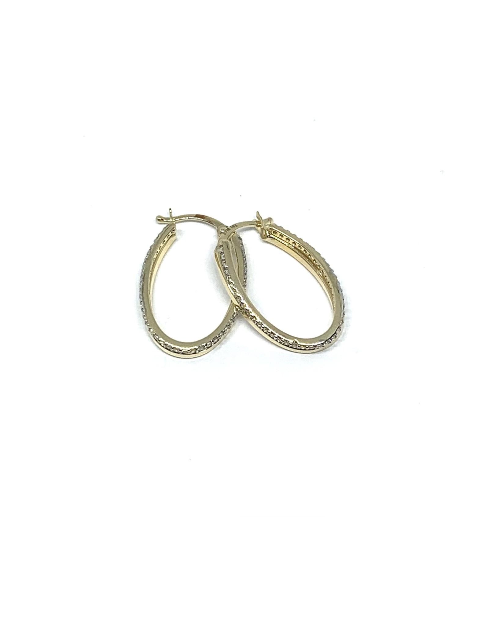 PARÉ Boucles d'oreilles Anneaux Ovales double Or 10K avec Cubique zirconium