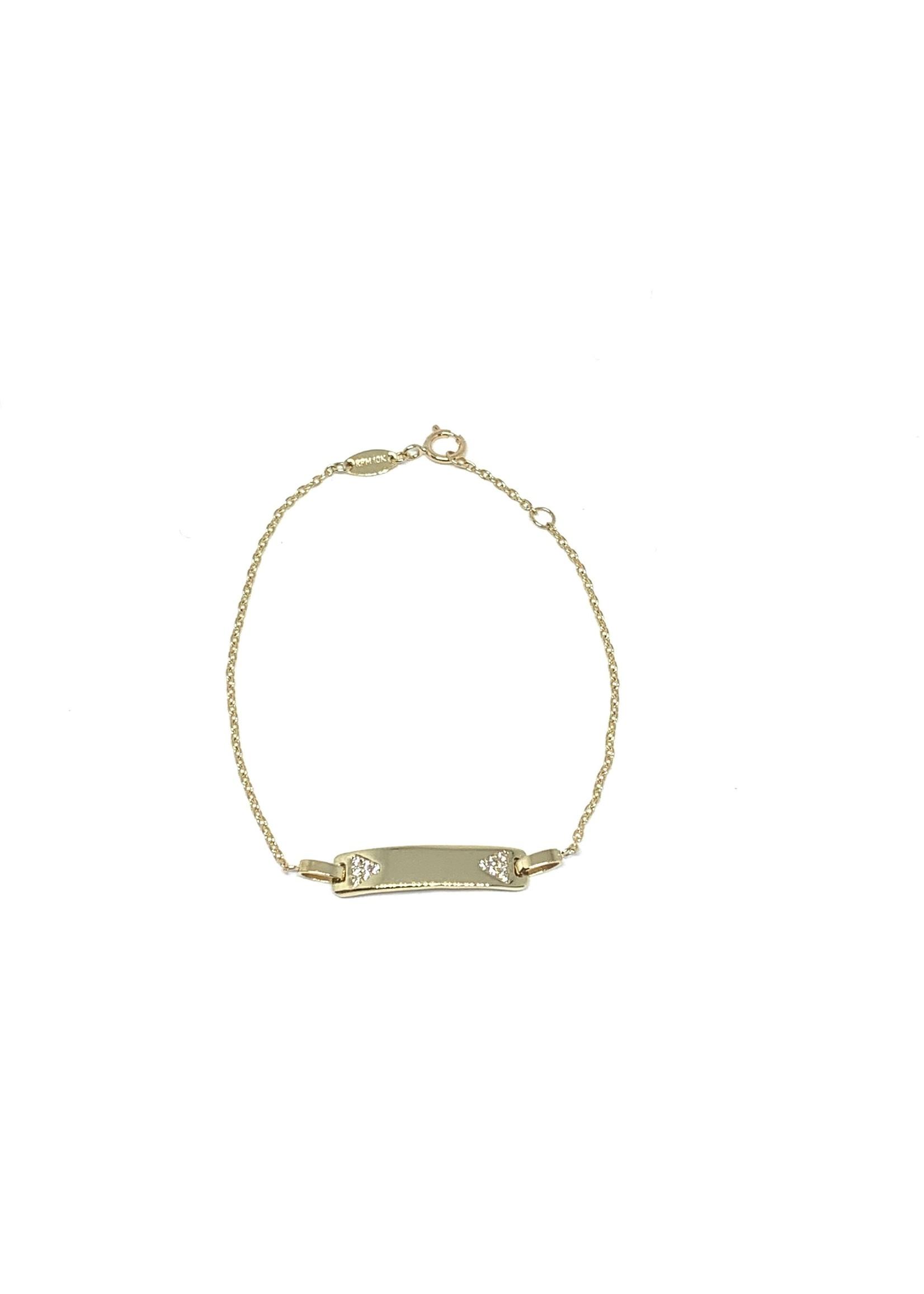 PARÉ Bracelet Forçat ID Enfant Or 10K avec Cubique zirconium