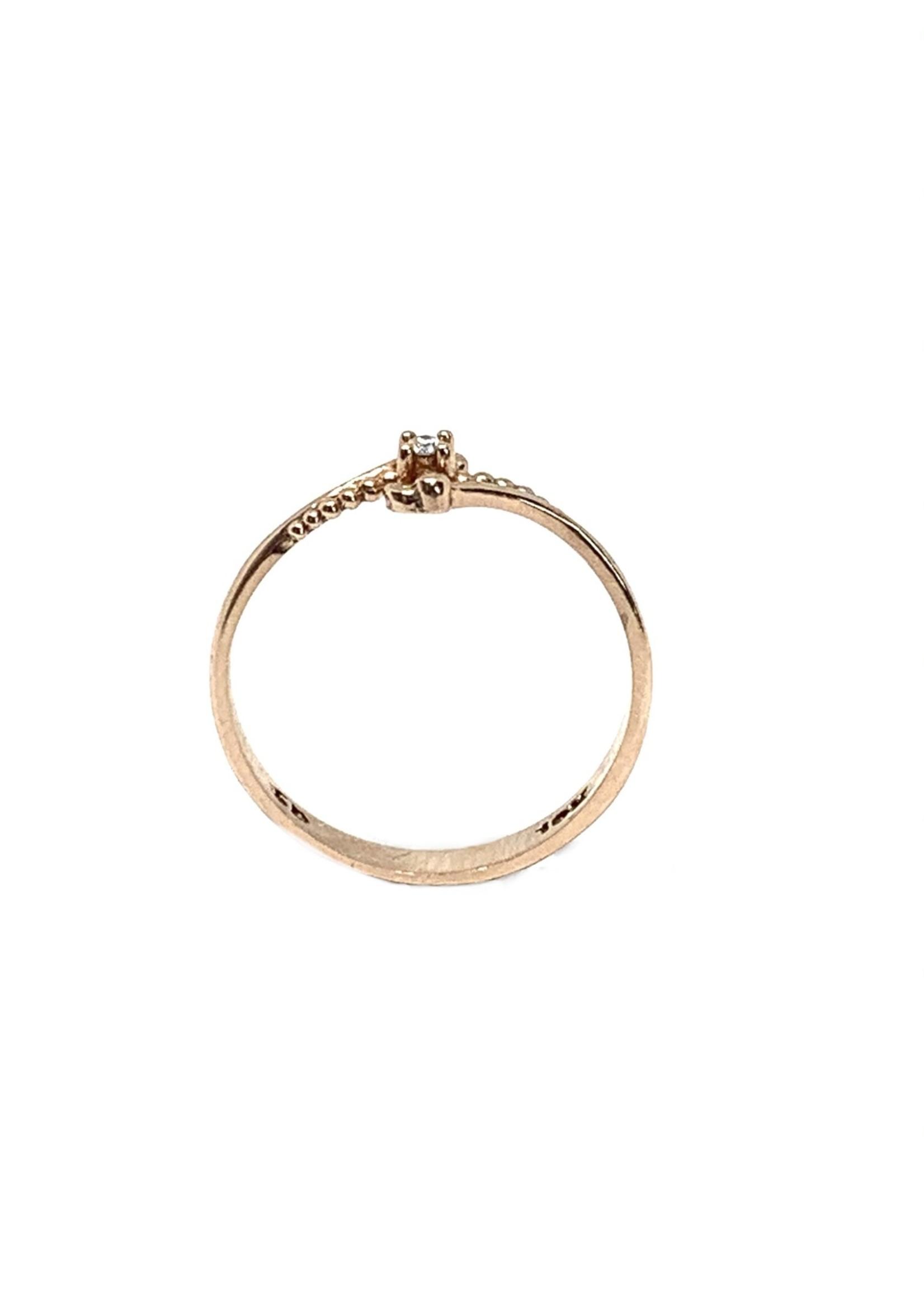LokÜs Bague Solitaire minimaliste Or 10K avec Diamant canadien