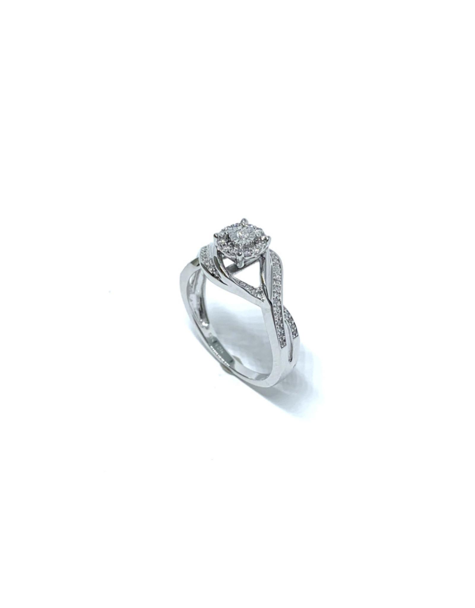 Bague de fiançailles halo illusion Or blanc 10K avec diamants