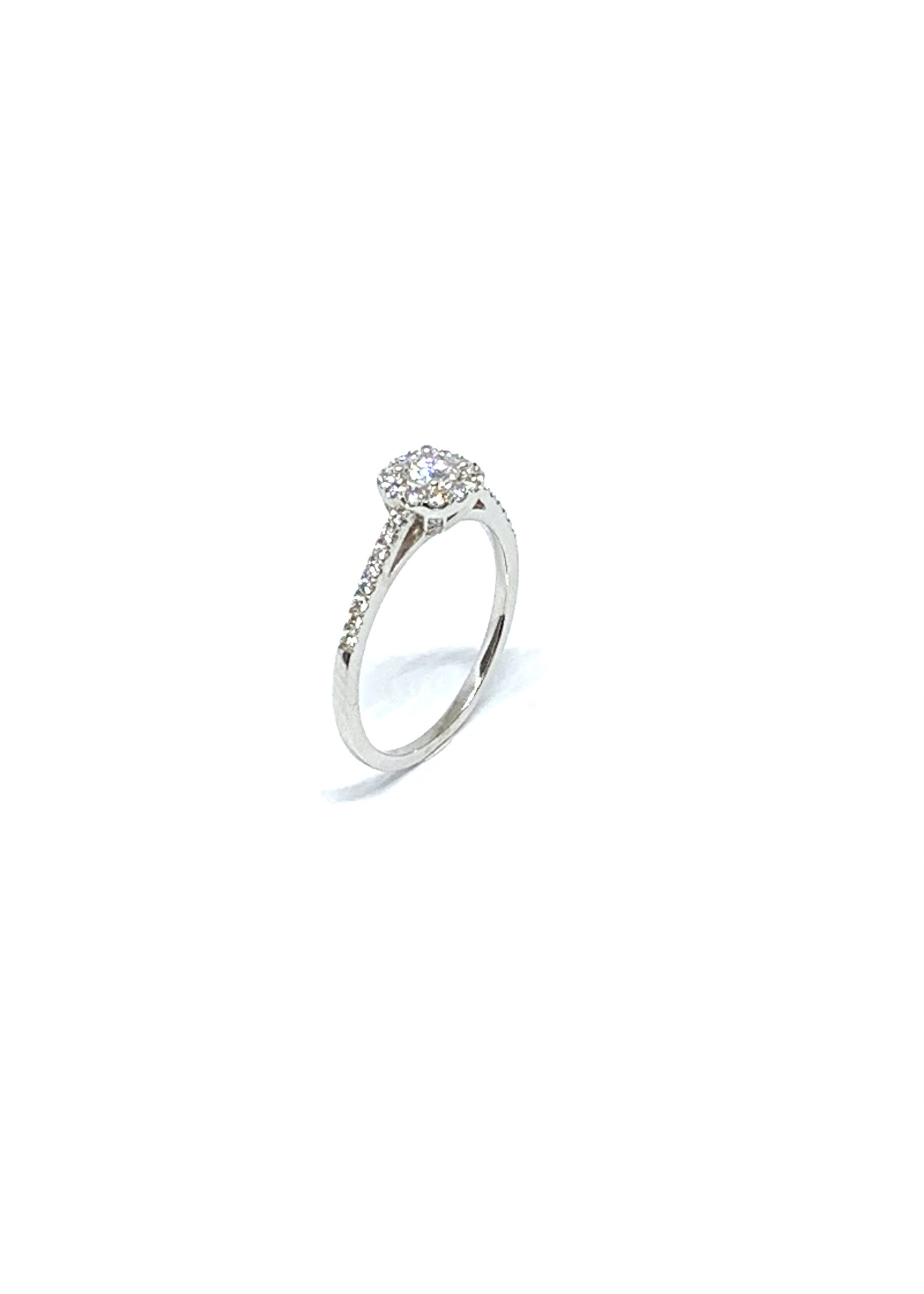 PARÉ Bague halo illusion Or blanc 14K avec diamants