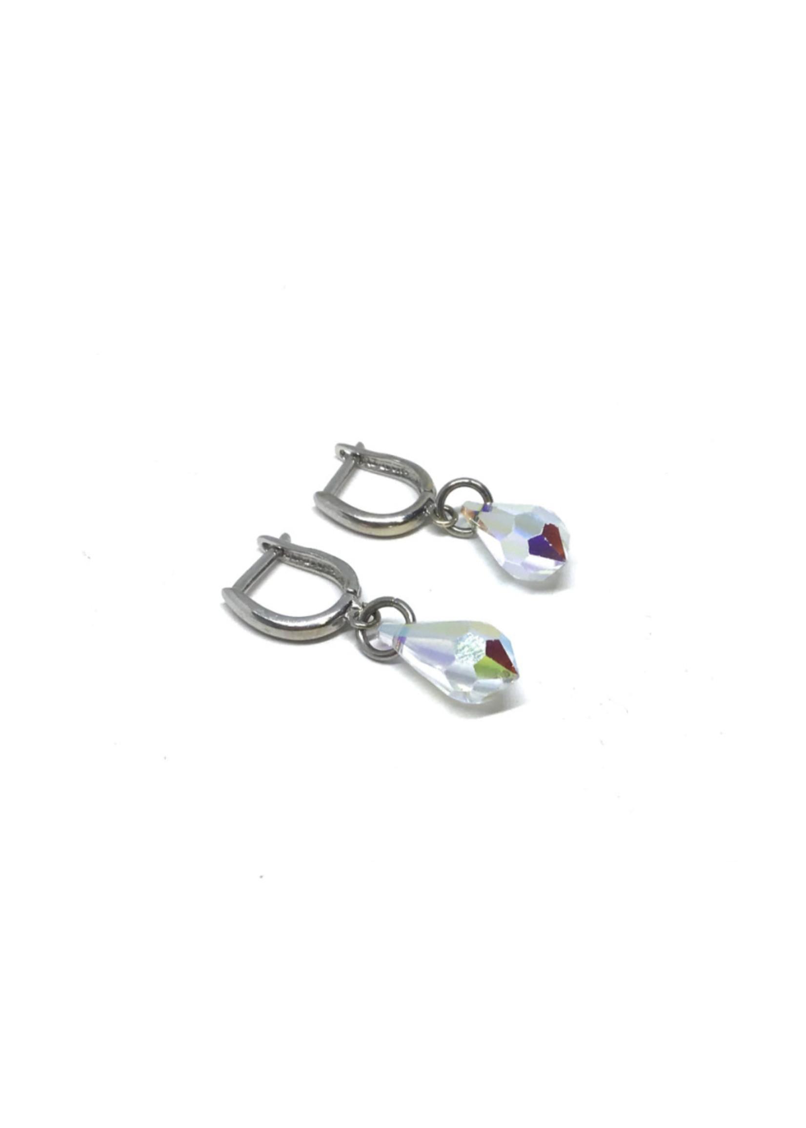Boucles d'oreilles Crystal Swarovski Pendantes Or blanc 10K