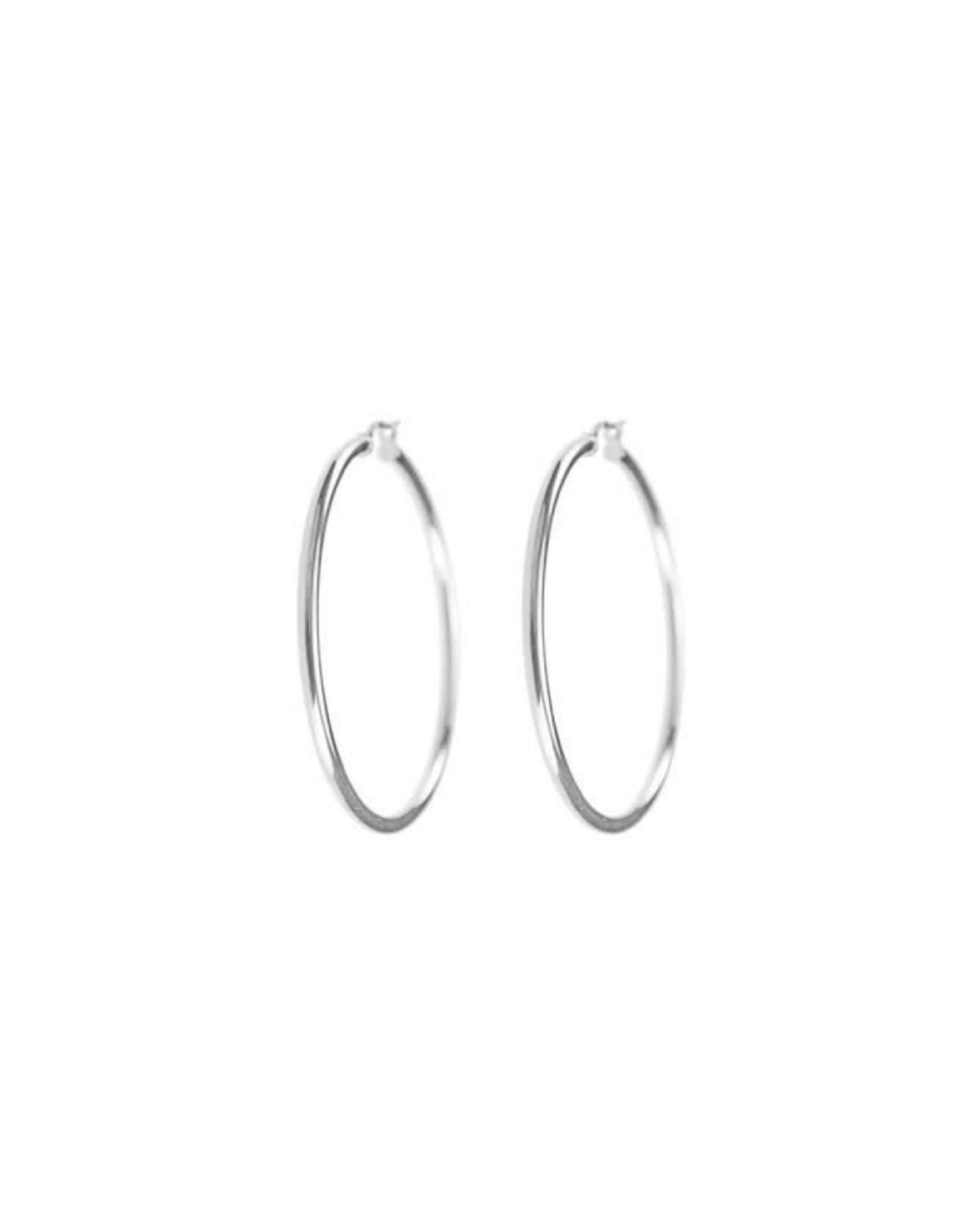 Boucles d'oreilles créoles Grandes Anneaux Or blanc 10K