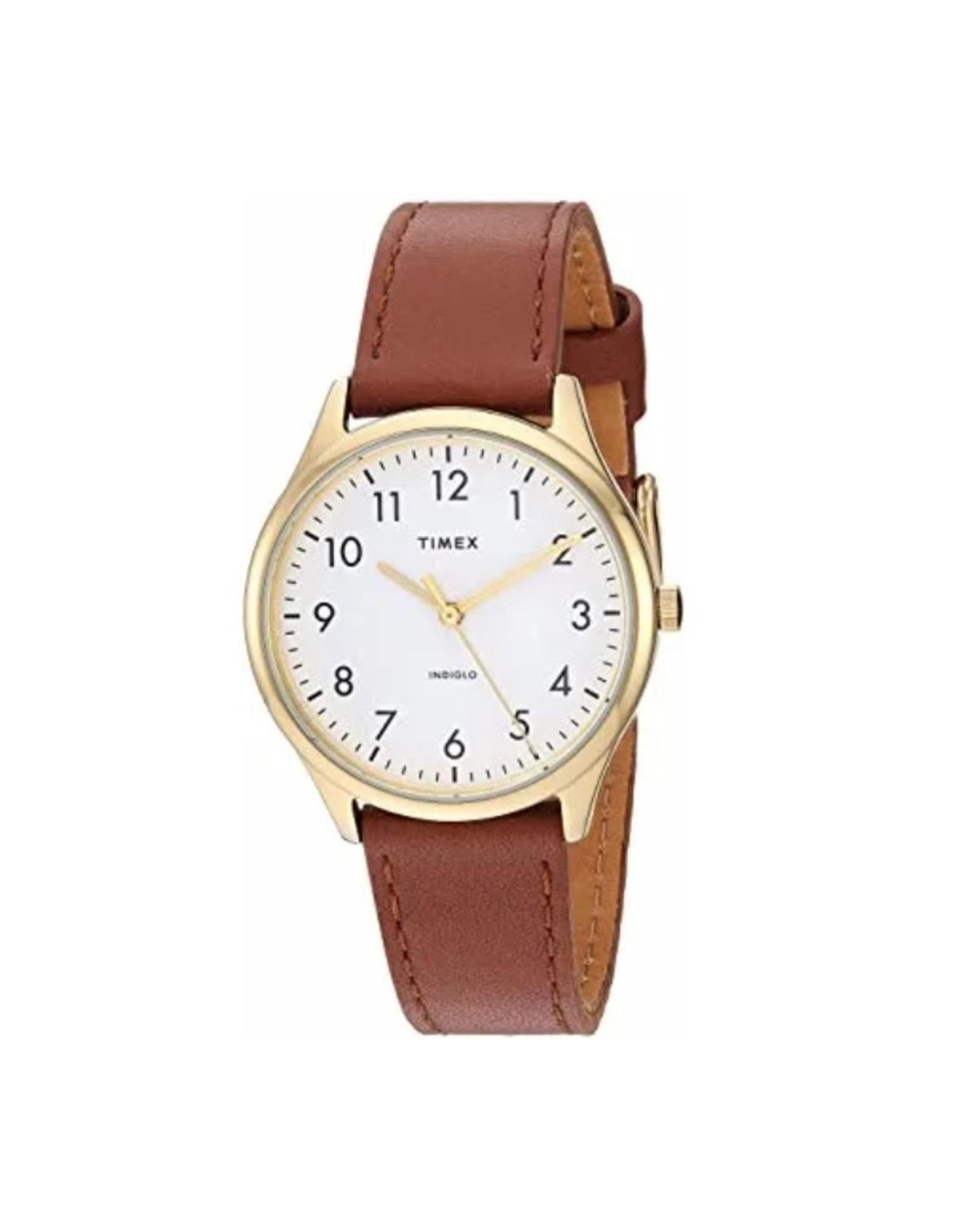 Timex Montre Timex dorée avec bracelet brun