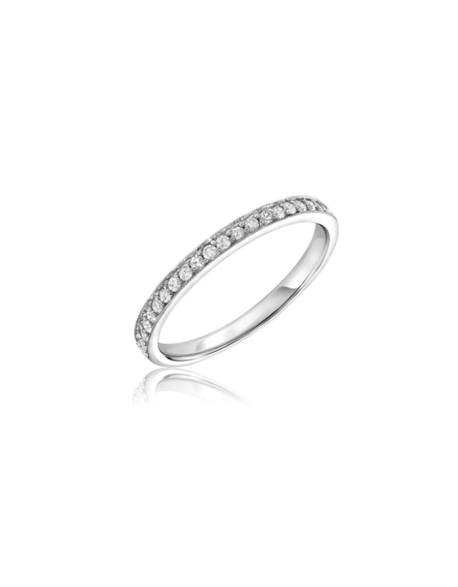 Jonc Semi-éternité Pavé Or blanc 10K avec Diamants