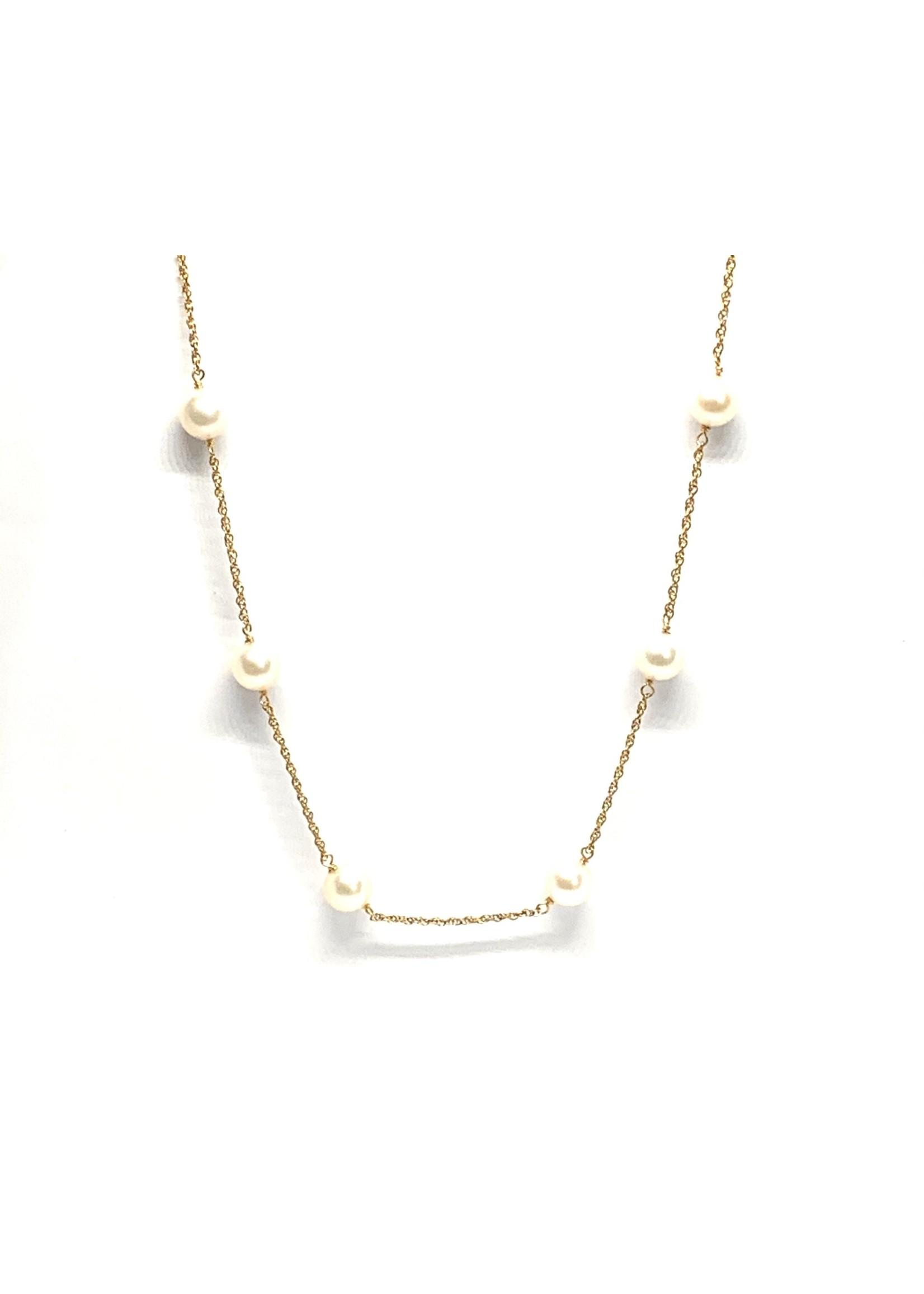 Chaîne en Or 10K  avec perles eau douce