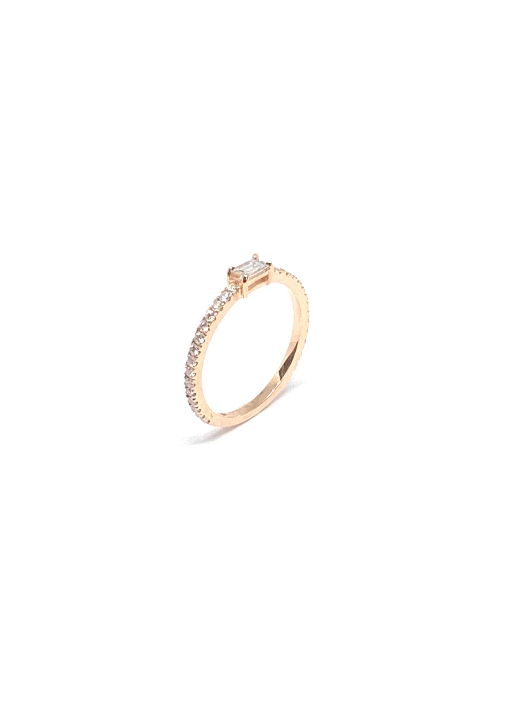 PARÉ Bague solitaire Or rose 14K avec diamants