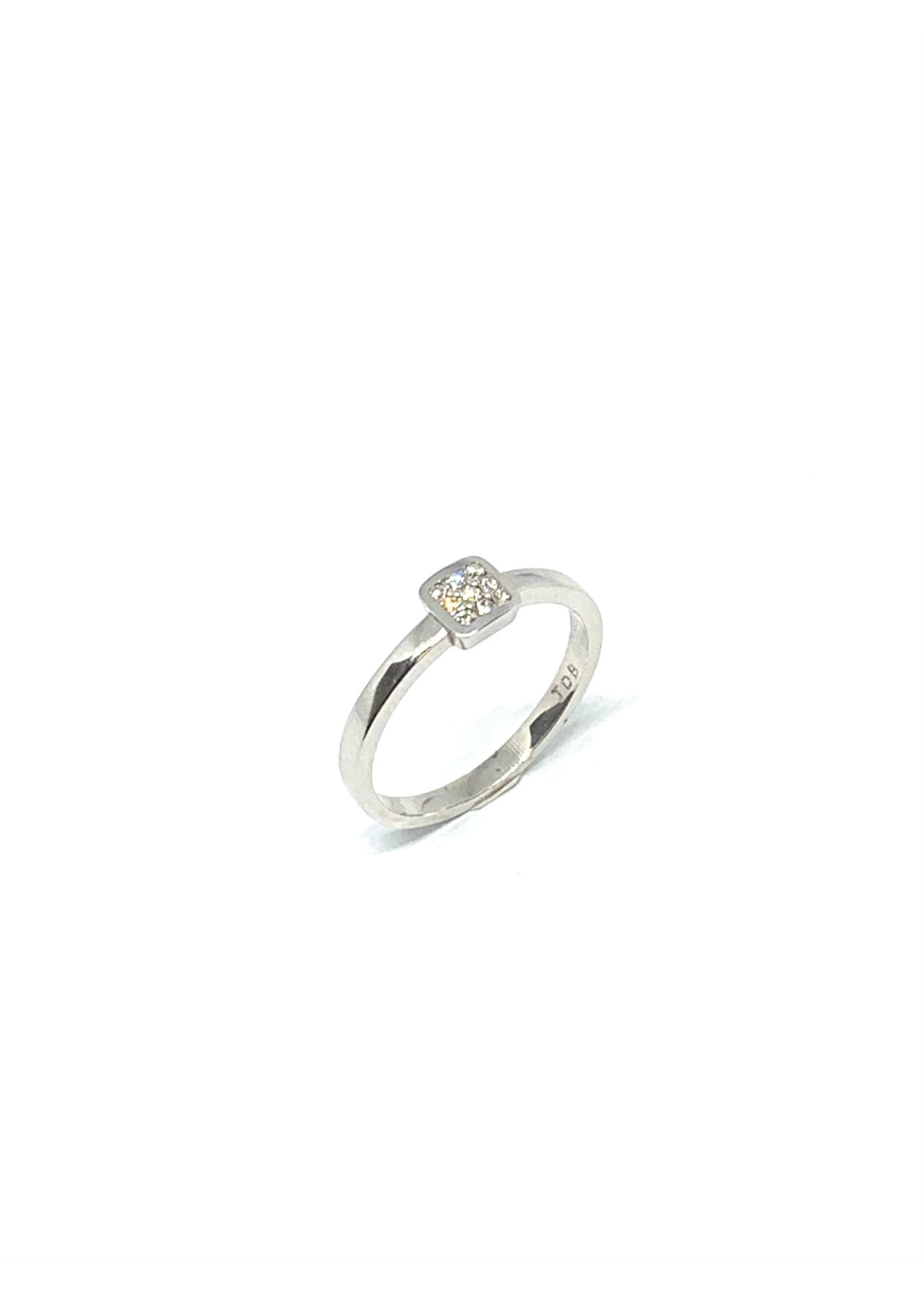 PARÉ Bague solitaire carré Or blanc 14K avec diamants