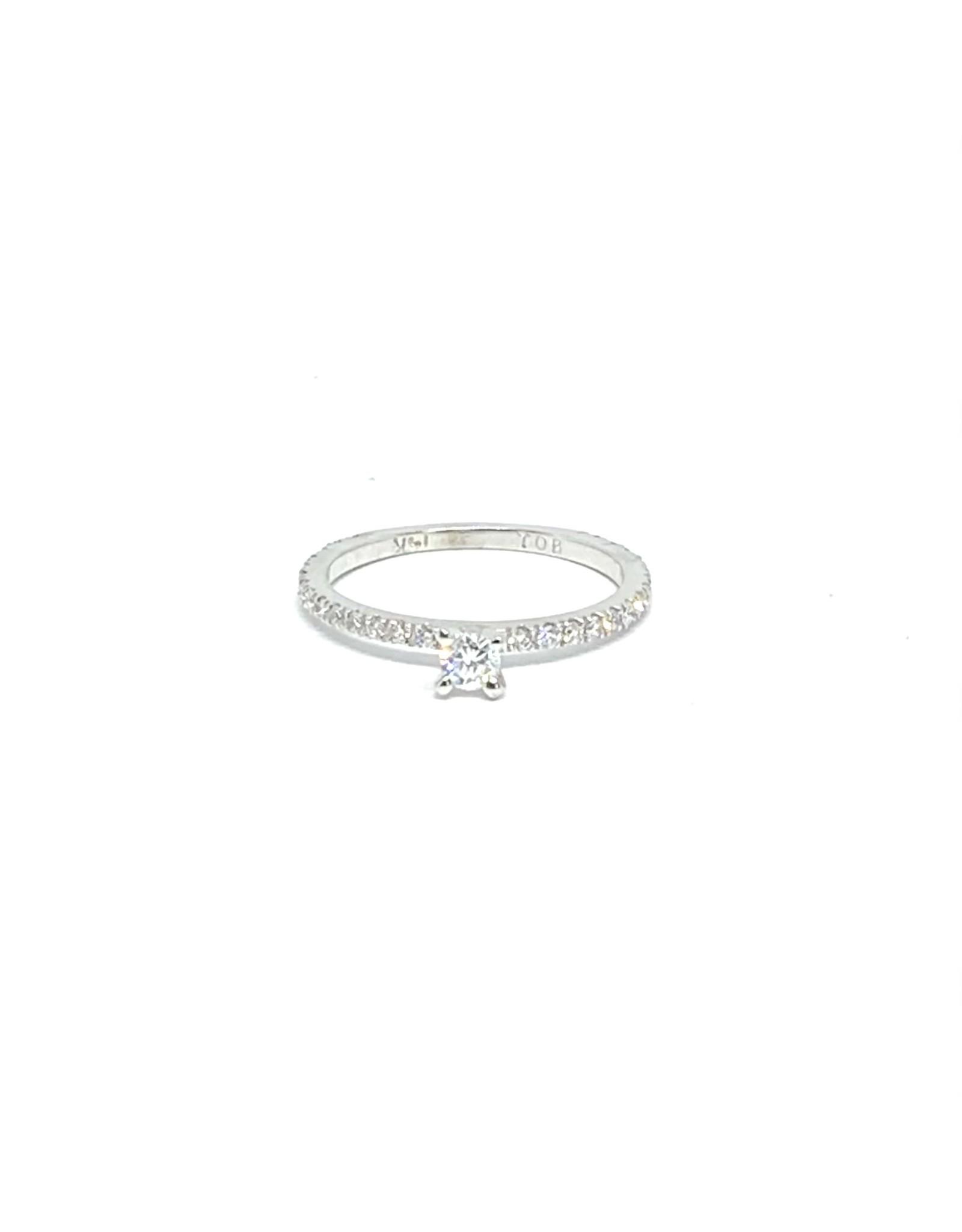 PARÉ Bague solitaire Or blanc 14K avec diamants