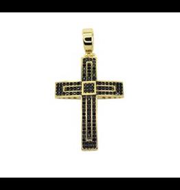 PARÉ Pendentif Croix en Or 10k avec pierres noirs serties