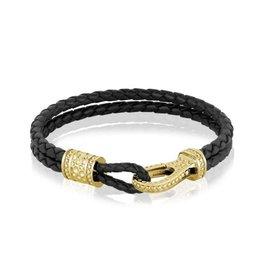 PARÉ Bracelet Homme Cuir Noir et Steel Doré