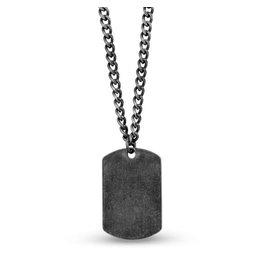 PARÉ Chaine et Pendentif plaque en acier Steel brossé