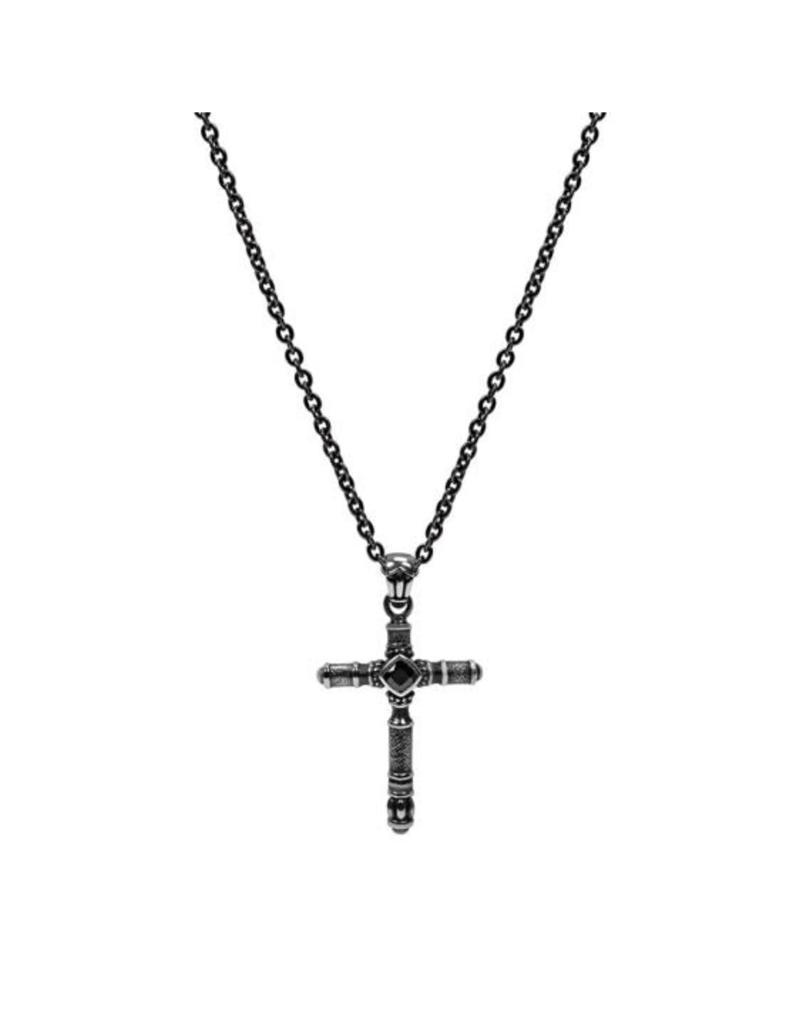 PARÉ Chaine Steel Noire et Pendentif Croix Acier