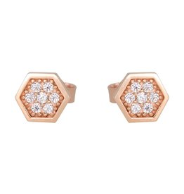 Boucles d'oreilles Hexagone Or rose 10K