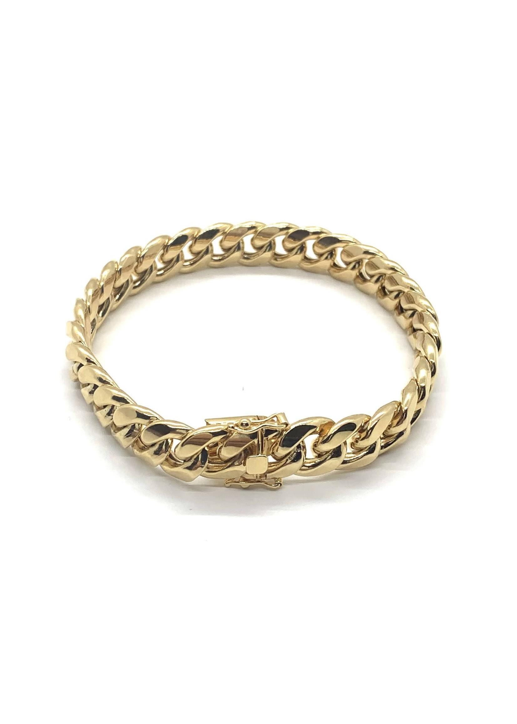 PARÉ Bracelet Homme Miami Cuban Link Or 10k