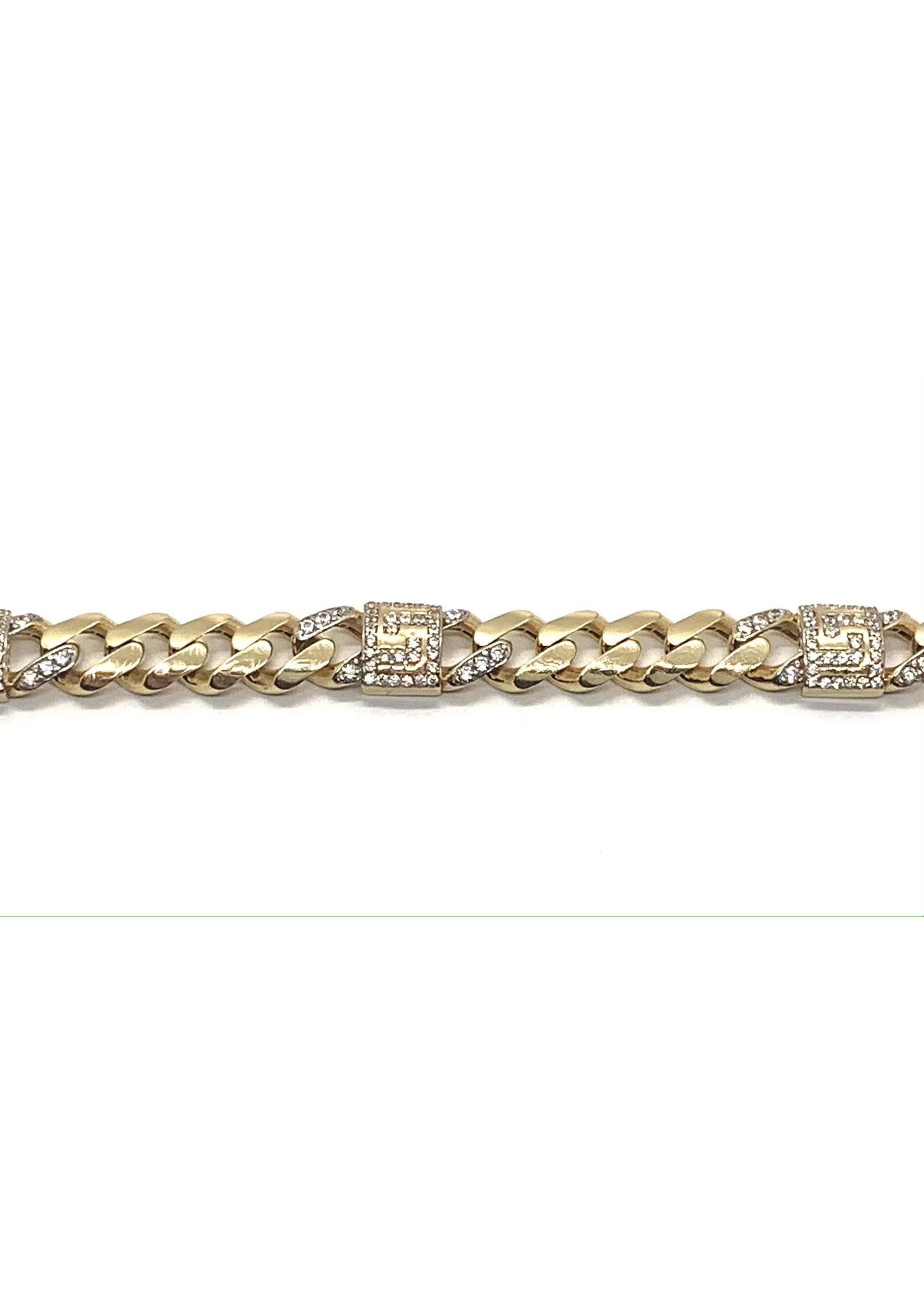 PARÉ Bracelet Homme Miami Cuban Versace Or 10k