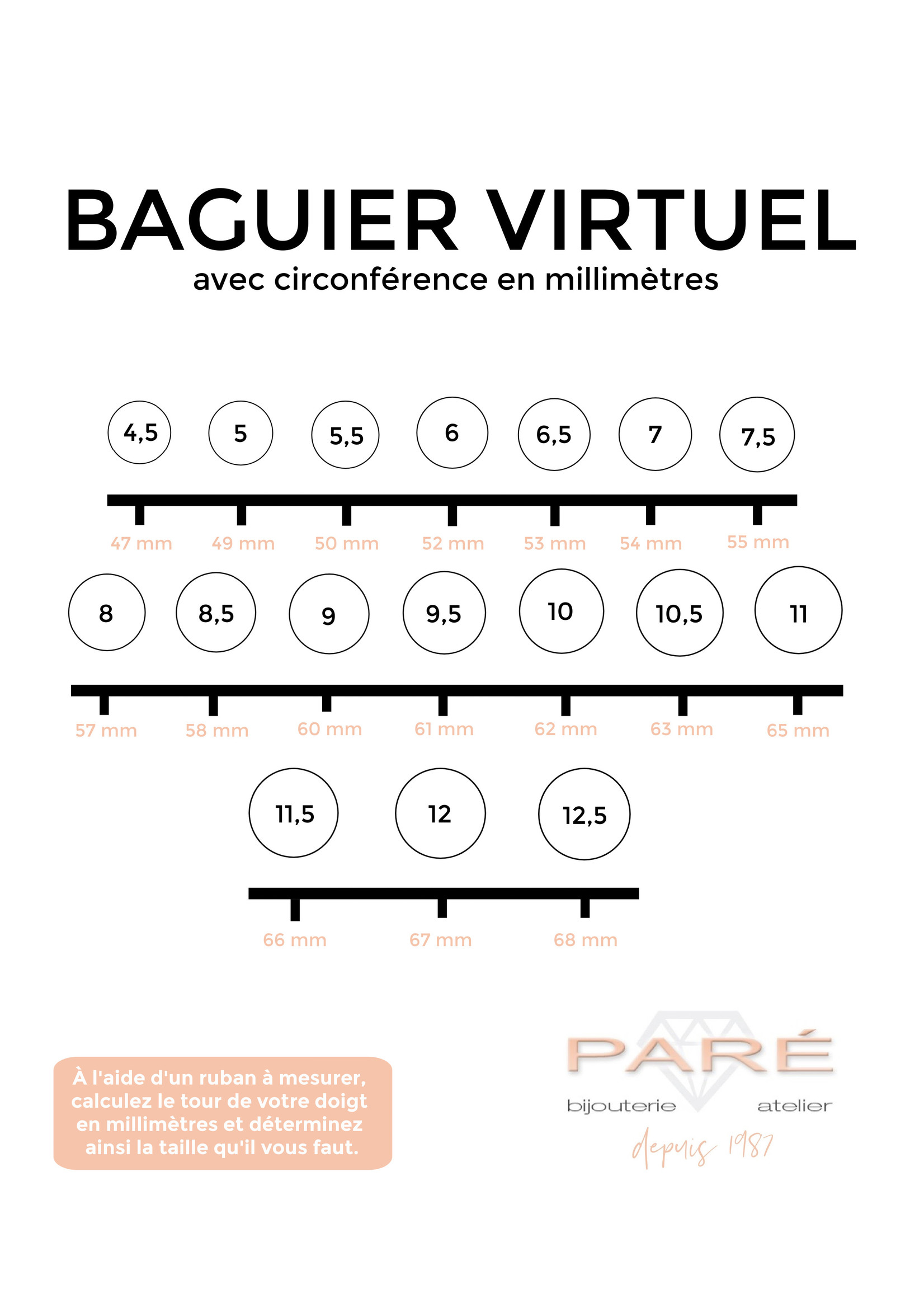 PARÉ Bague Infini  Or 10K 3 tons